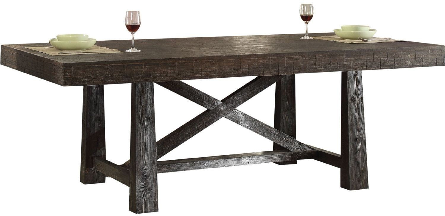 Eliana salvage dark oak leg dining table from acme coleman furniture - Dark oak dining tables ...