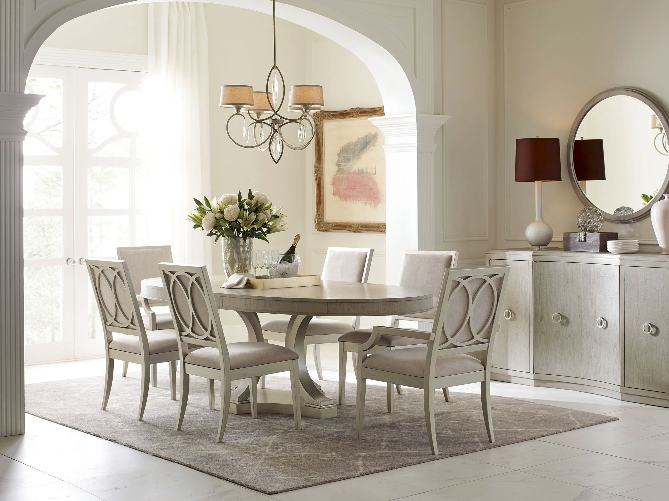 Cinema Shadow Grey Oval Extendable Dining Room Set From