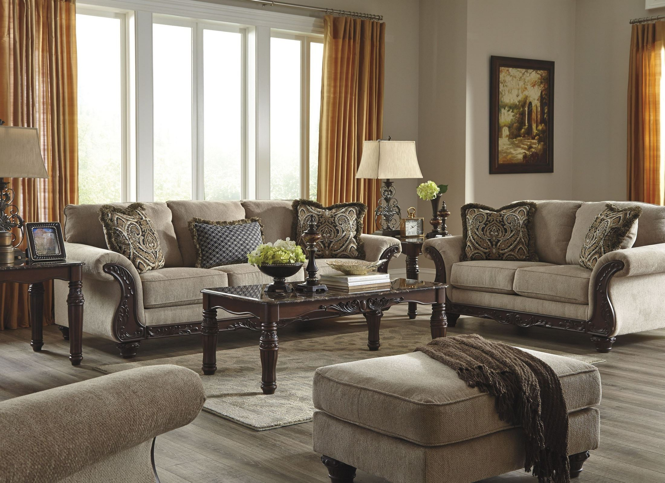 Laytonsville pebble living room set from ashley 7200238 coleman furniture for Ashley furniture 5 piece living room set