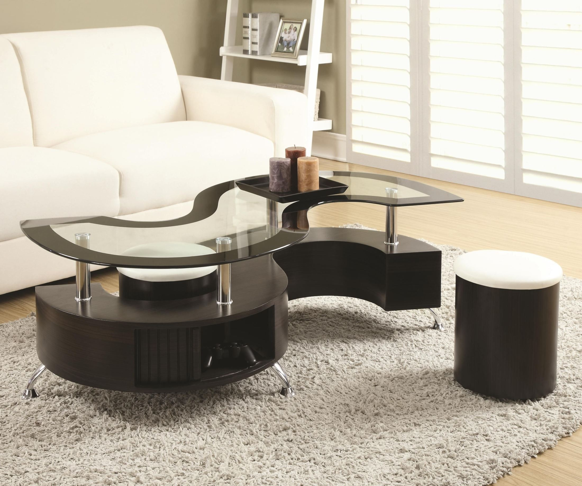 720218 Dark Brown Coffee Table And Stool From Coaster 720218 Coleman Furniture