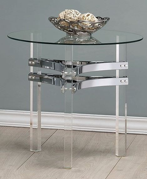 Chrome and Clear Acrylic Round End Table from Coaster ...