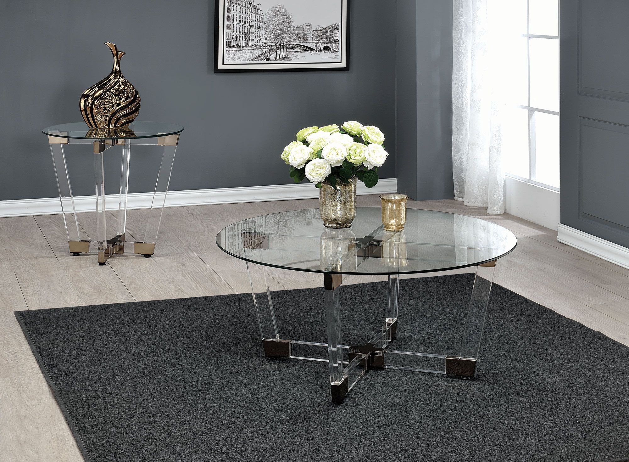 Chocolate chrome and clear acrylic coffee table from coaster coleman furniture Acrylic clear coffee table