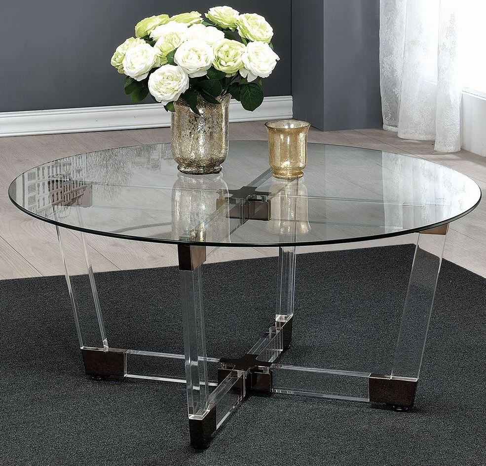 Chocolate chrome and clear acrylic coffee table from for Clear lucite acrylic coffee table