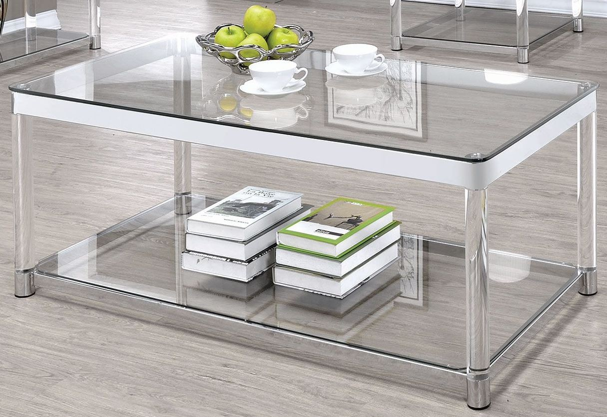 Chrome and clear acrylic rectangular coffee table from for Clear coffee table