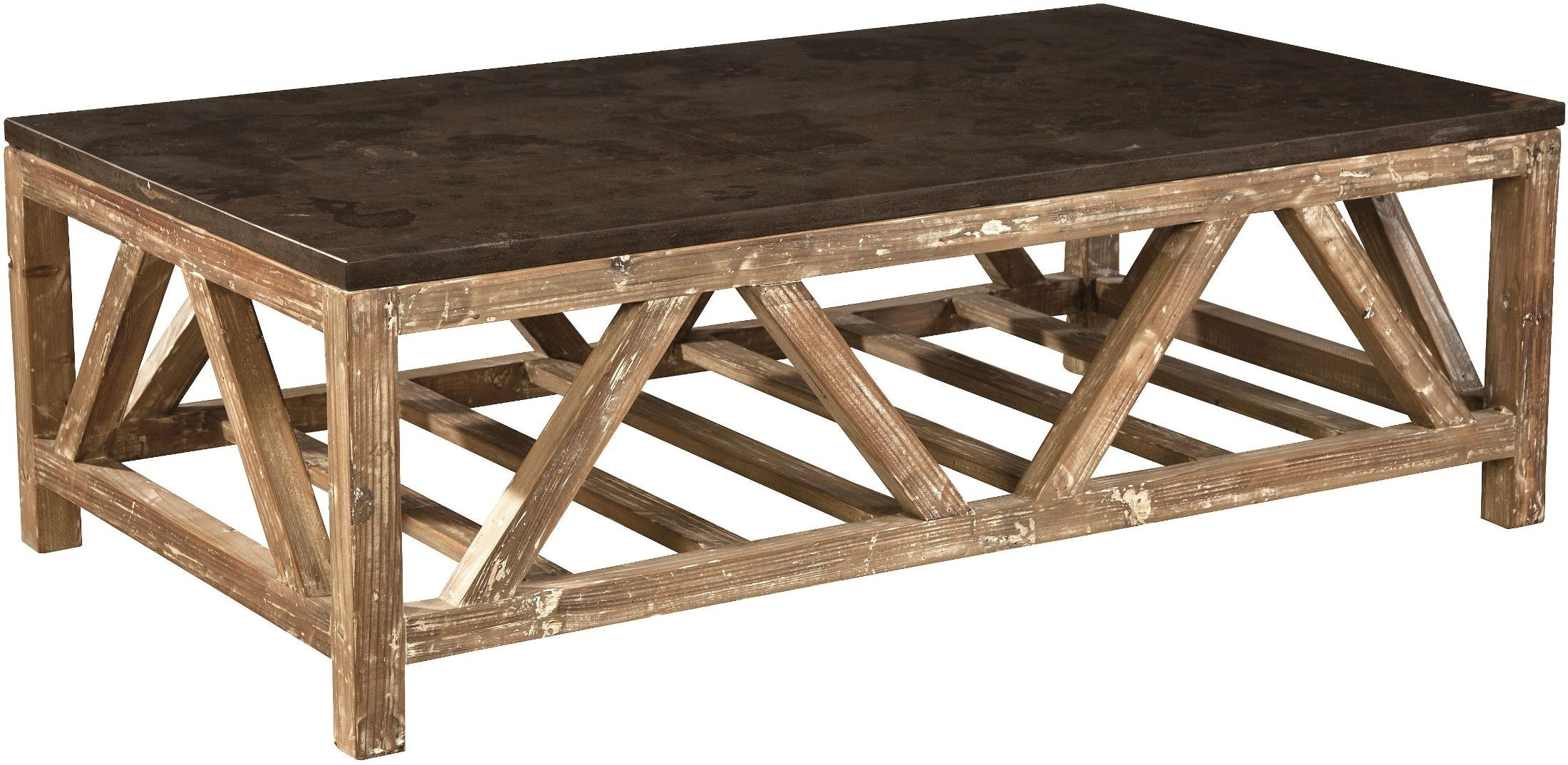 Marvelous Old Fir And Bluestone Coffee Table