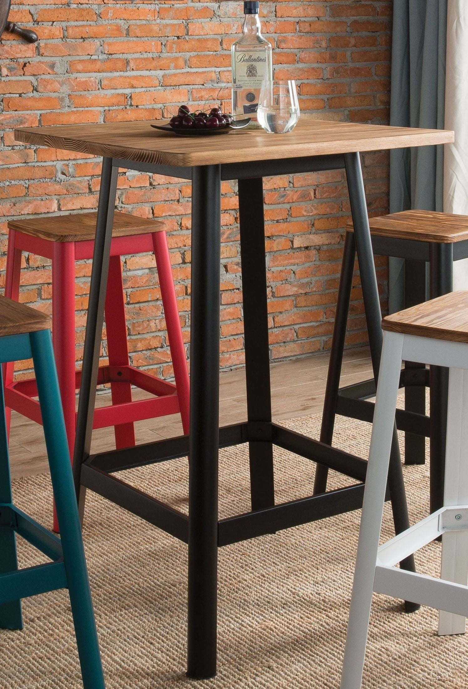 Jacotte Natural and Black Bar Table from Acme | Coleman Furniture