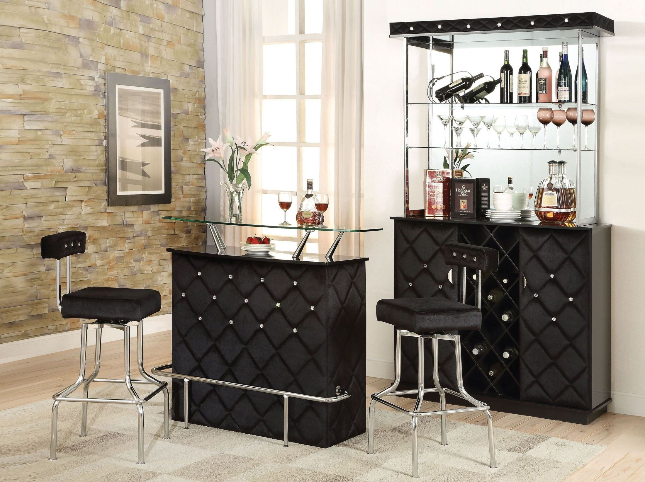 Jacey Black Velvet Bar Set From Acme Coleman Furniture