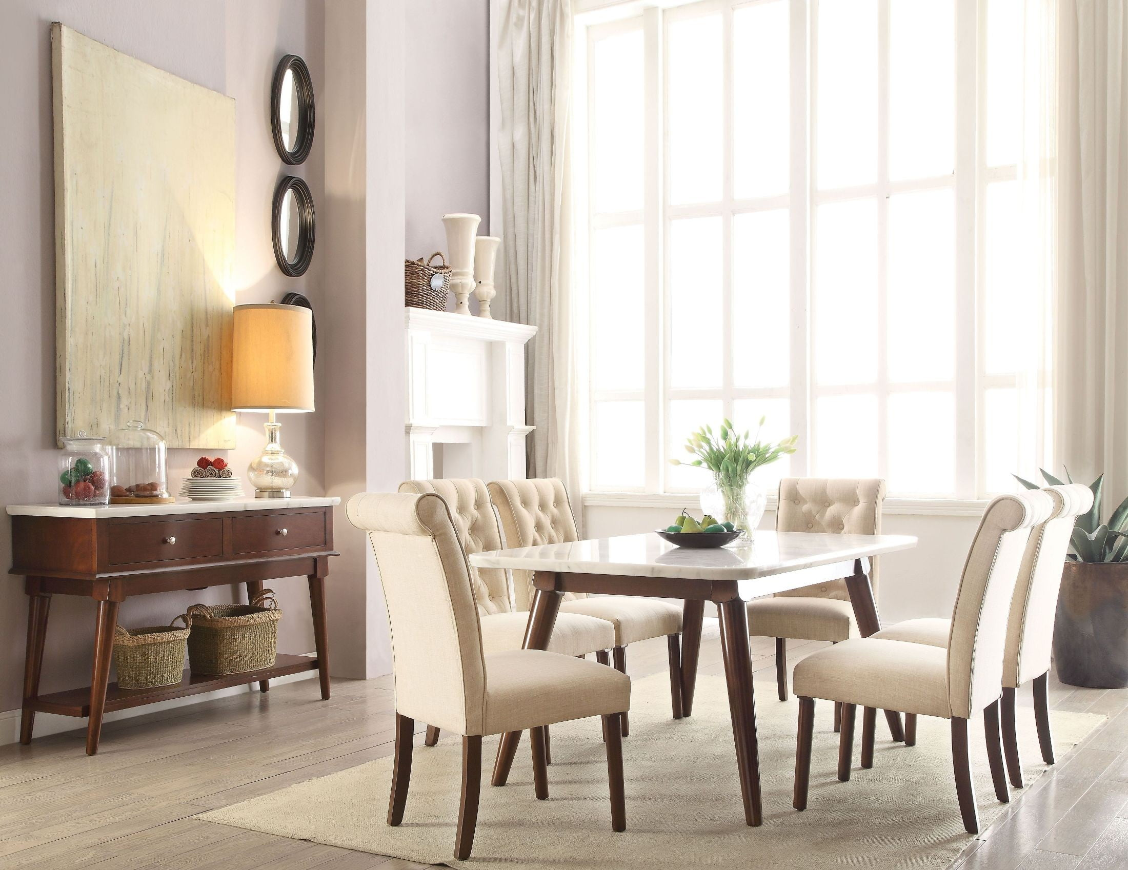 Gasha White Marble and Walnut Dining Table from Acme | Coleman Furniture