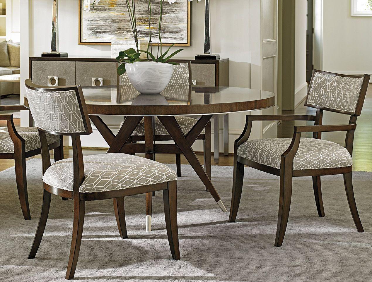 Macarthur park strathmore brown 60 round dining room set for Brown dining room set