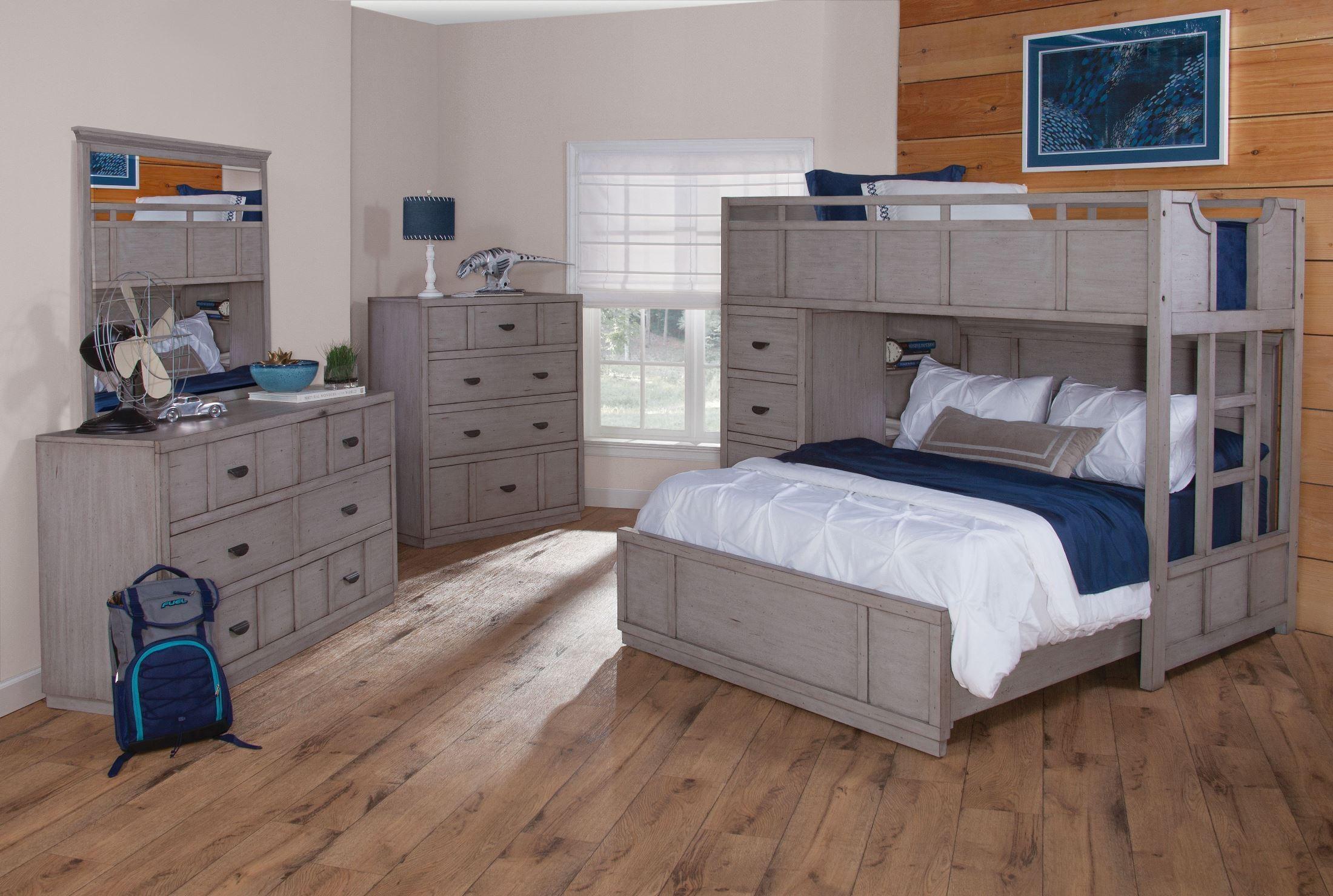 Provo Driftwood Patina Loft Bedroom Set, 7300-345-915-969-945-946 ...