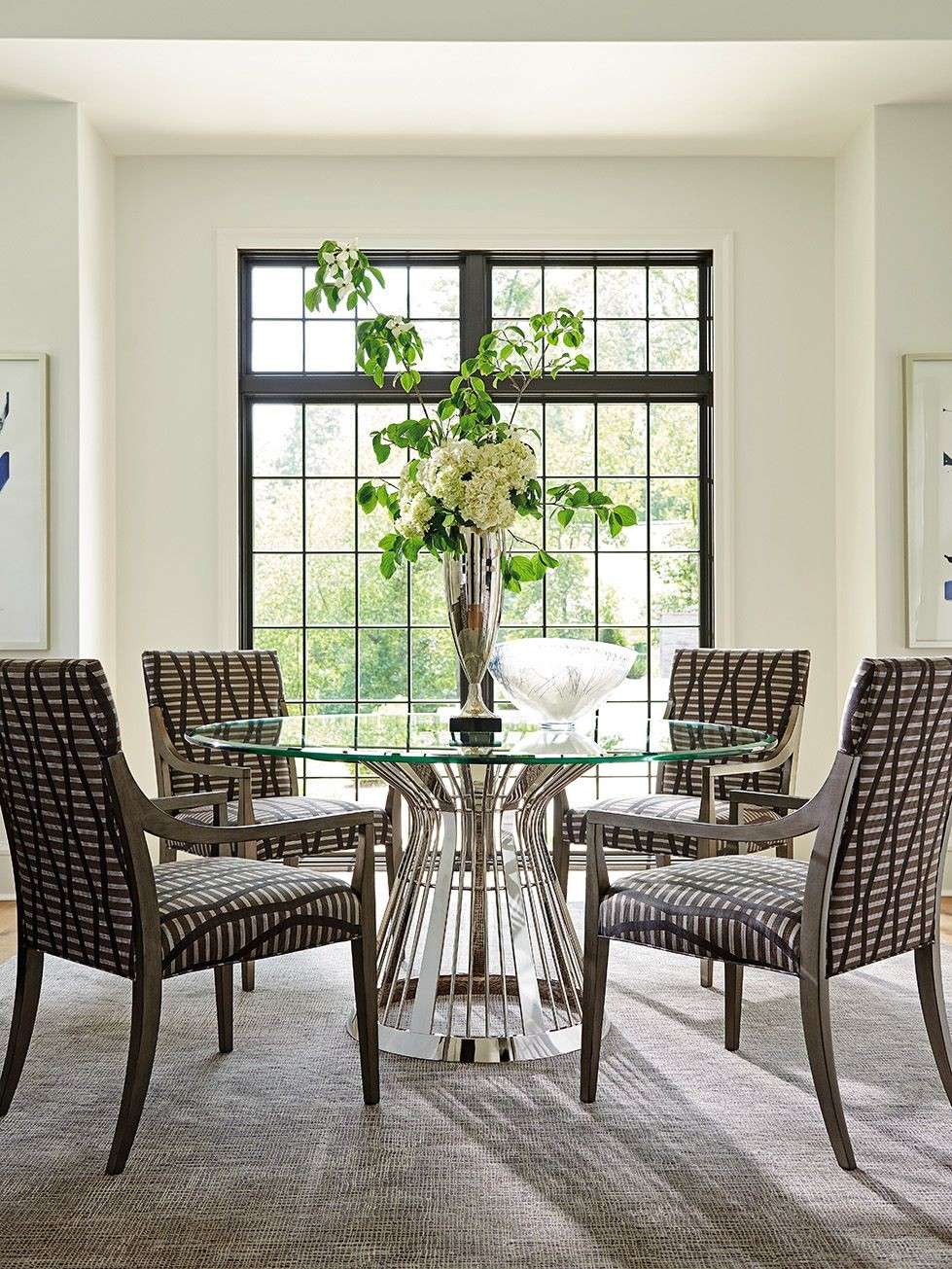 "Ariana Riviera 60"" Round Glass Top Dining Room Set, 01 ..."