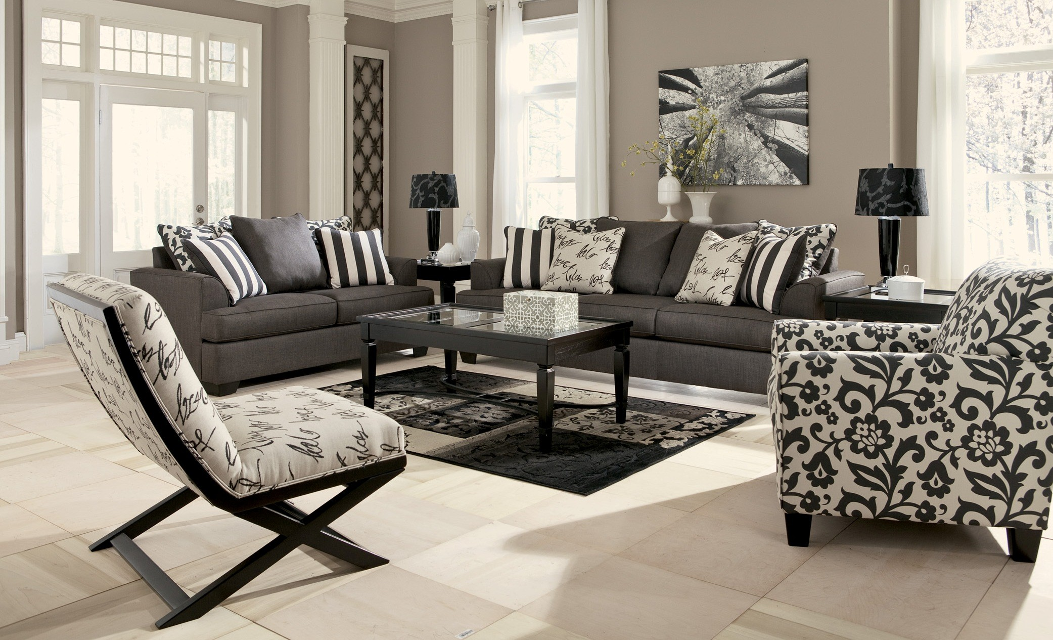 Levon charcoal living room set from ashley 73403 for Black and white living room set