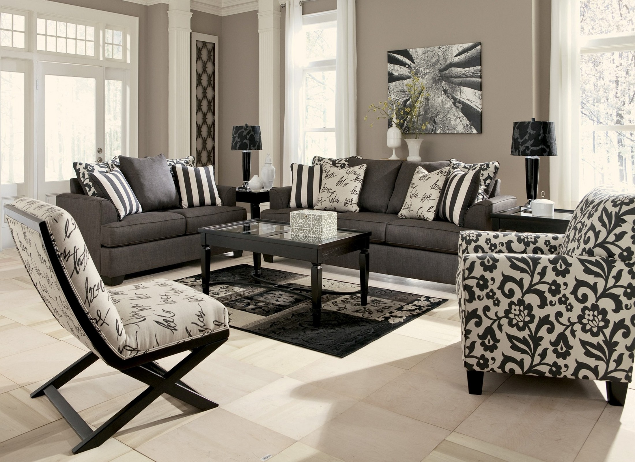 Living Room Furniture: Levon Charcoal Living Room Set From Ashley (73403