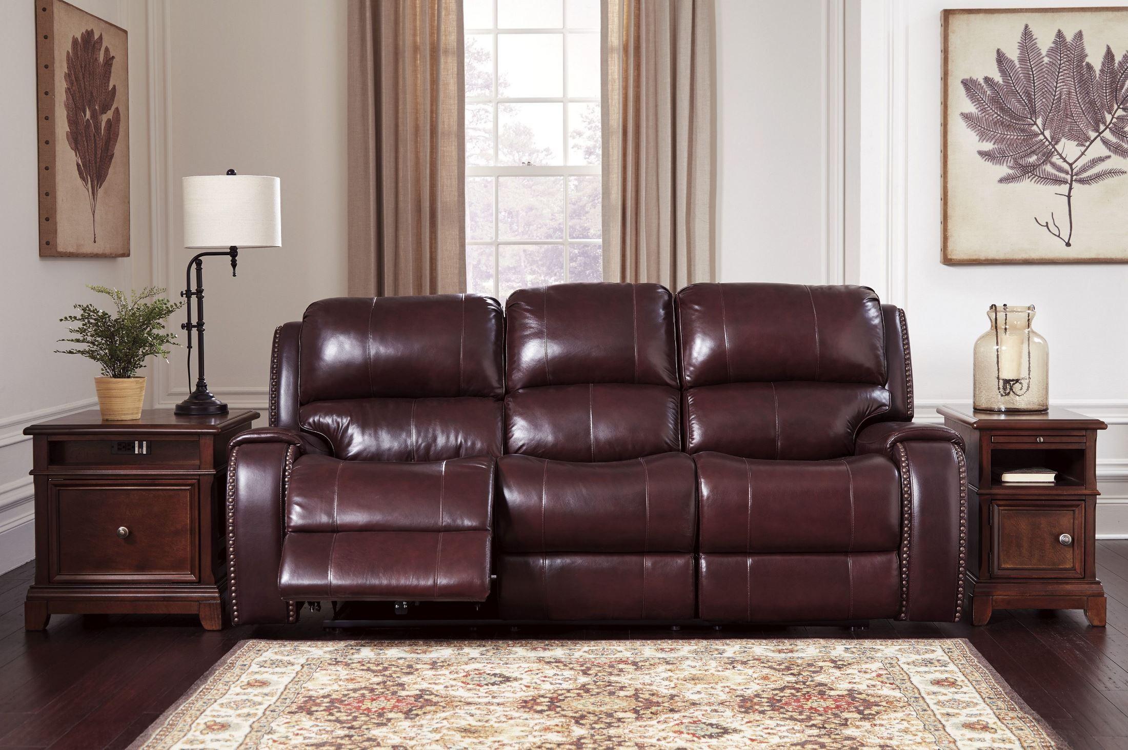 Bon Gilmanton Burgundy Power Reclining Sofa With Adjustable Headrest From  Ashley | Coleman Furniture