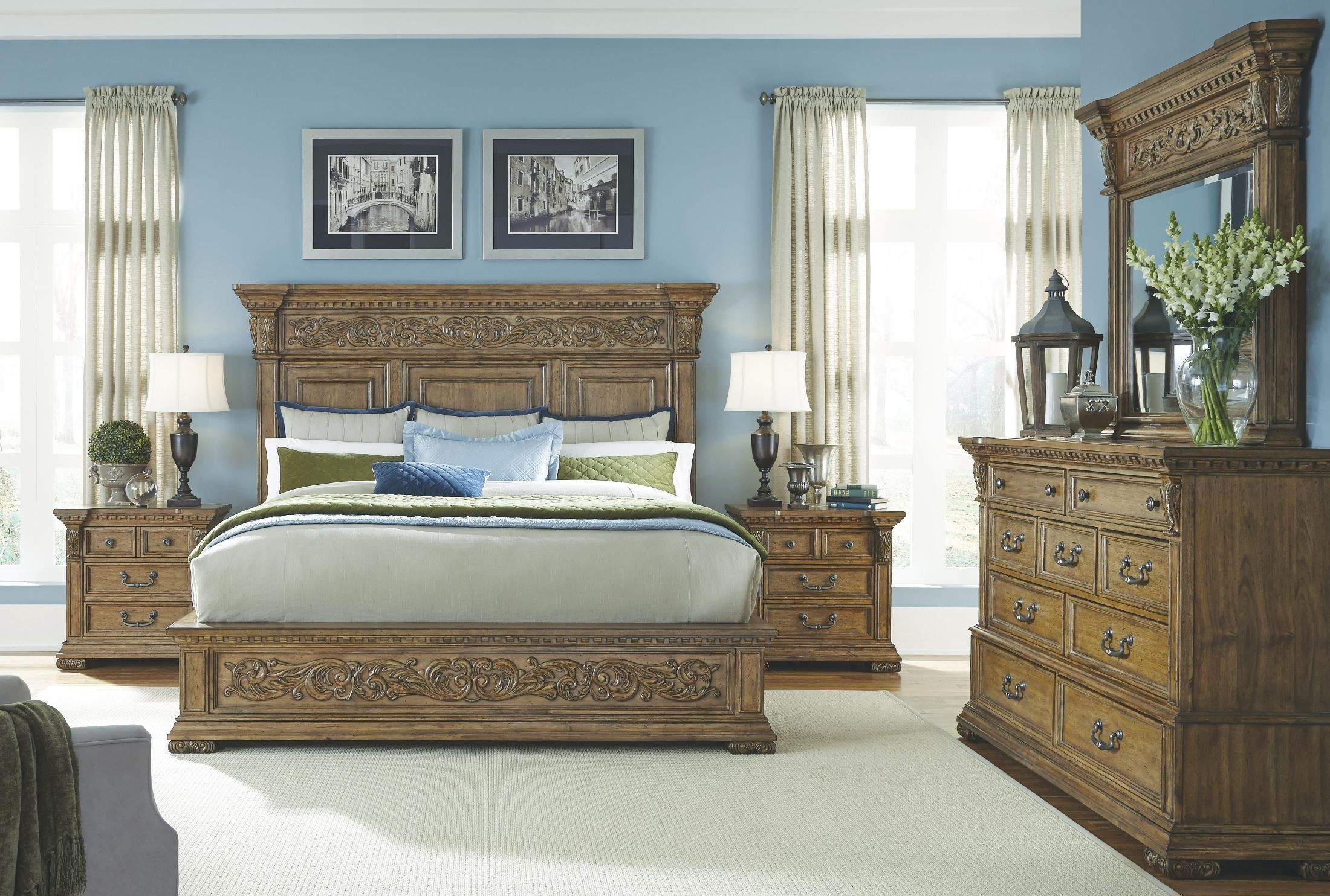 stratton medium wood stratton platform bedroom set from pulaski 737170 71 72 coleman furniture