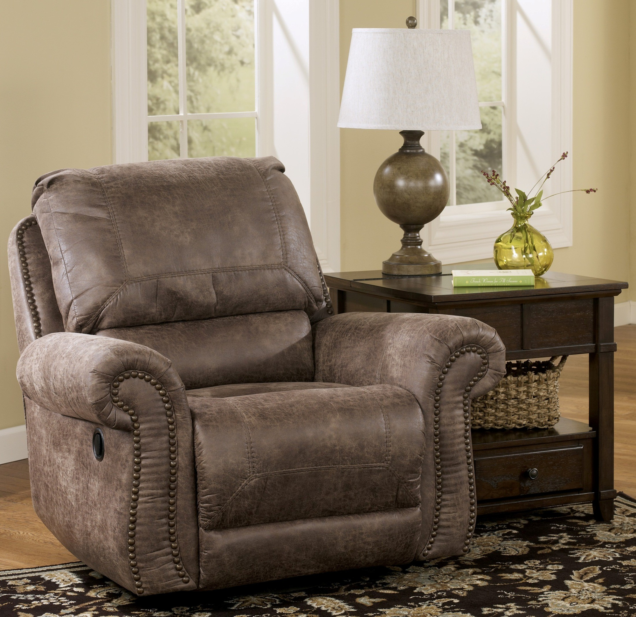 Oberson Gunsmoke Swivel Glider Recliner From Ashley