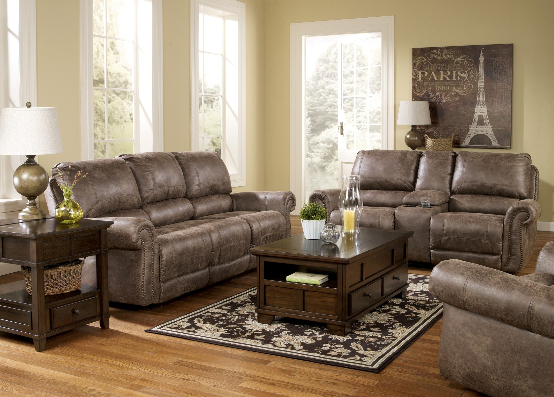 Oberson gunsmoke reclining living room set from ashley for Front room furniture