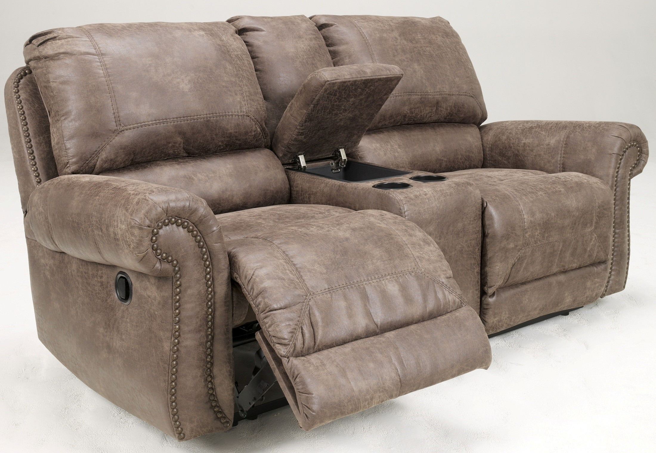 Oberson Gunsmoke Double Power Reclining Loveseat With Console From Ashley 7410096 Coleman