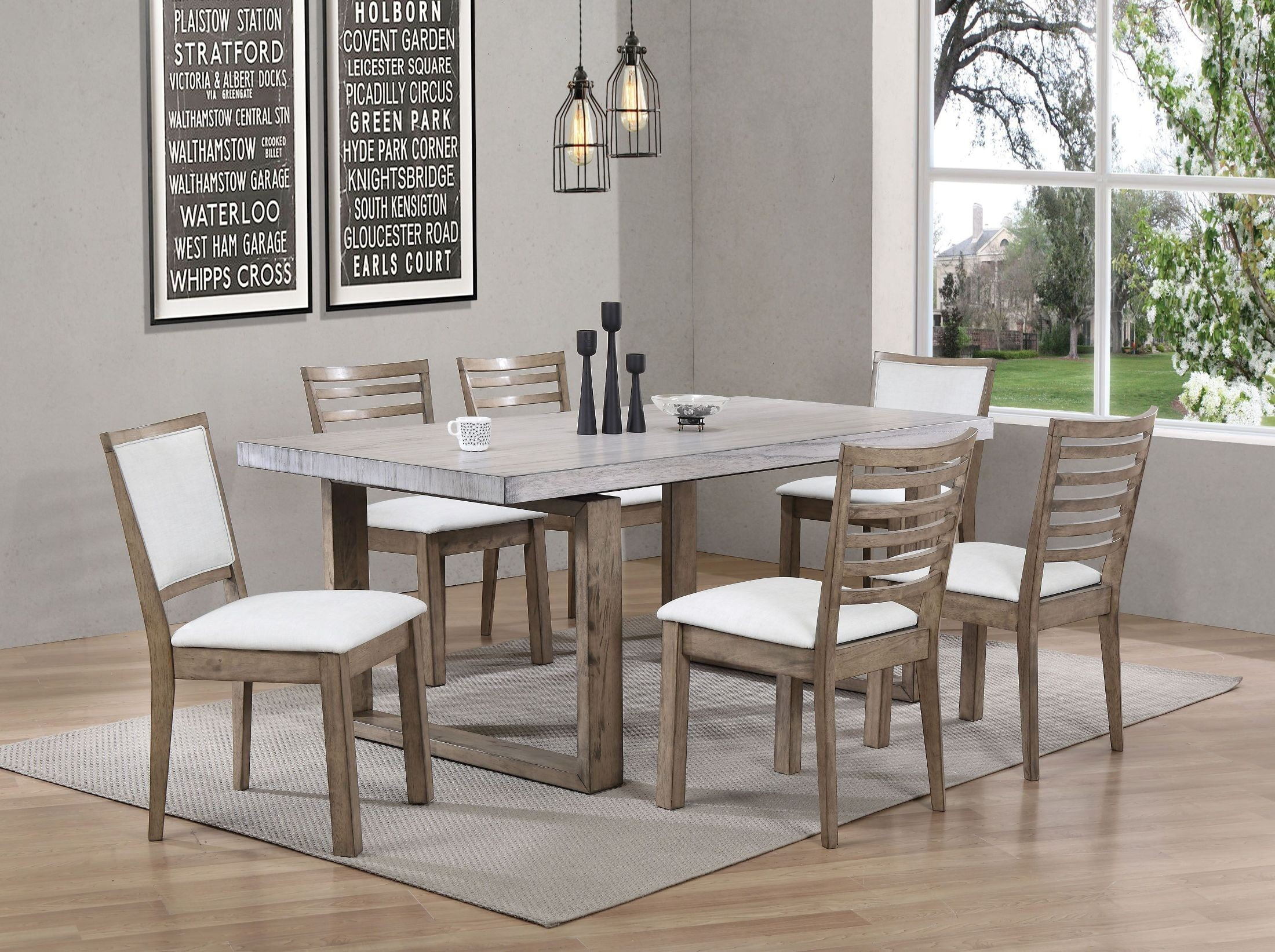 Paulina light gray and rustic oak dining room set from acme paulina light gray and rustic oak dining room set dzzzfo