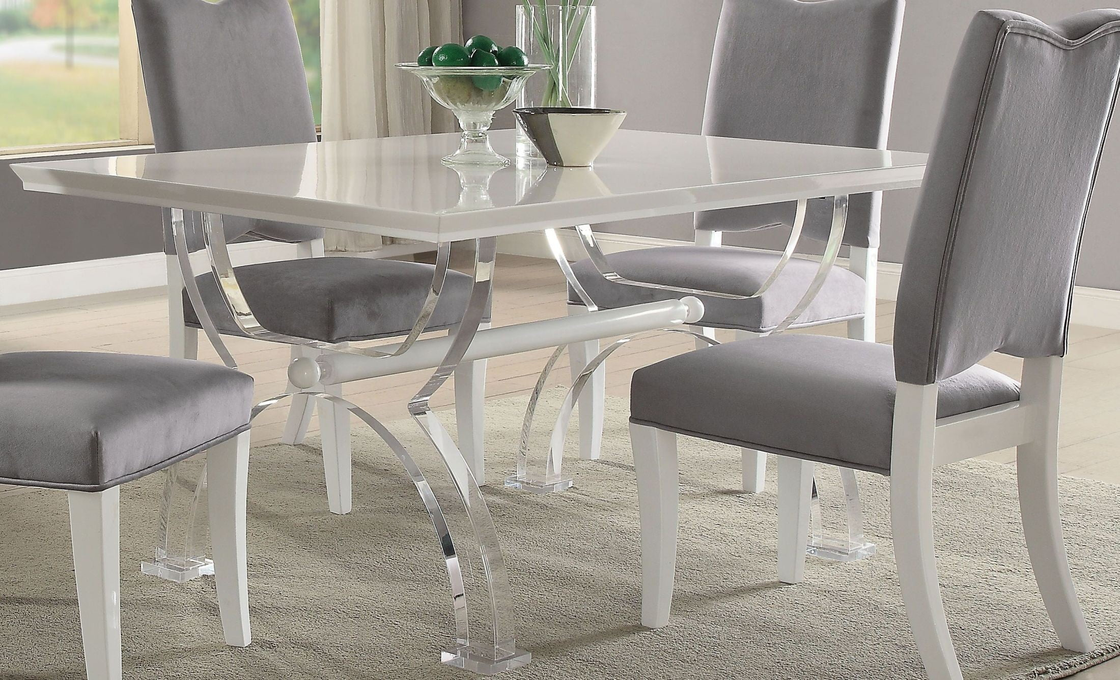 martinus high gloss white and clear acrylic dining table martinus high gloss white and clear acrylic dining table from acme      rh   colemanfurniture com