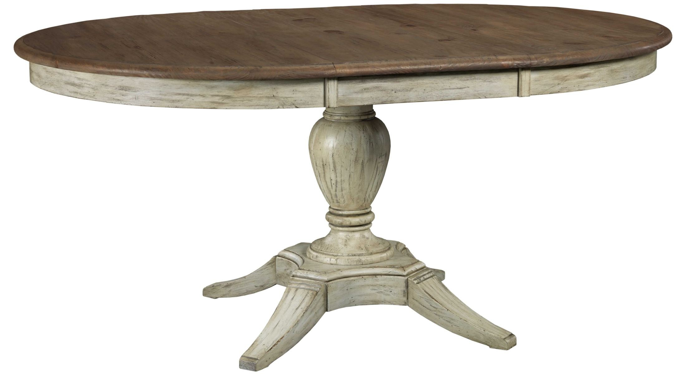 Weatherford cornsilk milford extendable round dining table for Round dining room table extendable