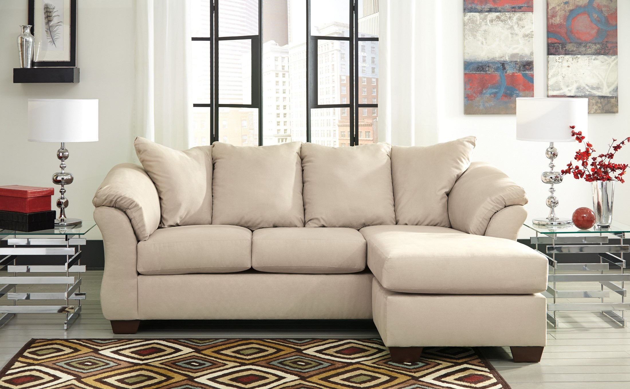 Darcy stone chaise sectional from ashley 7500018 for Ashley sectional with chaise