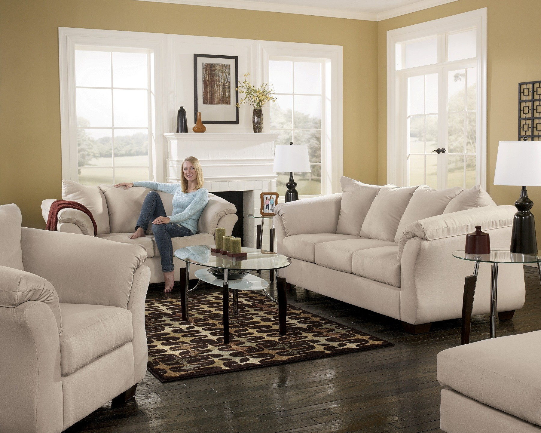 darcy stone living room set from ashley 75000 coleman furniture rh colemanfurniture com