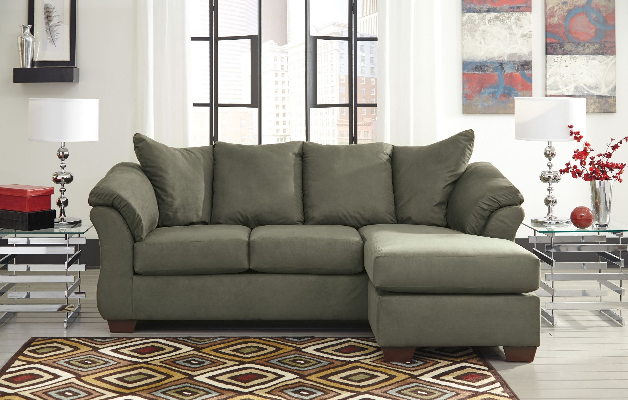 Darcy sage chaise sectional from ashley 7500318 for Ashley sofa chaise
