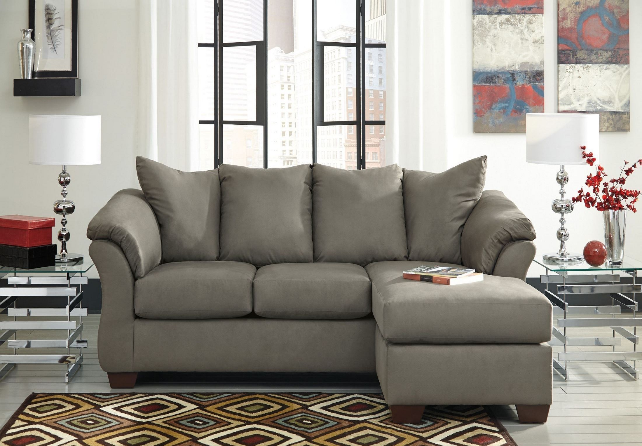 Darcy Cobblestone Chaise Sectional From Ashley 7500518