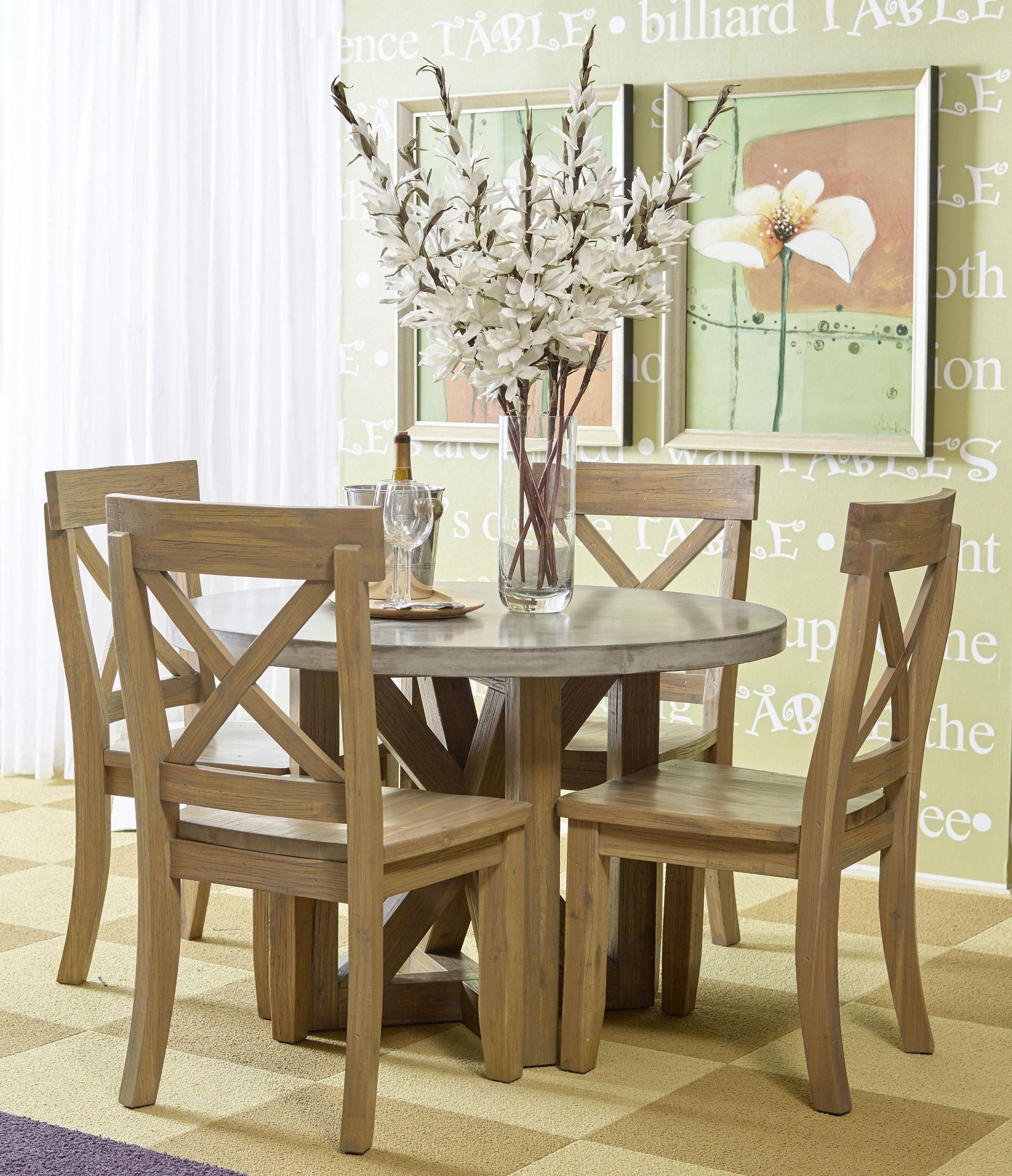 Concrete Dining Room Table: Boulder Ridge Concrete Round Dining Room Set, 757-43TBKT