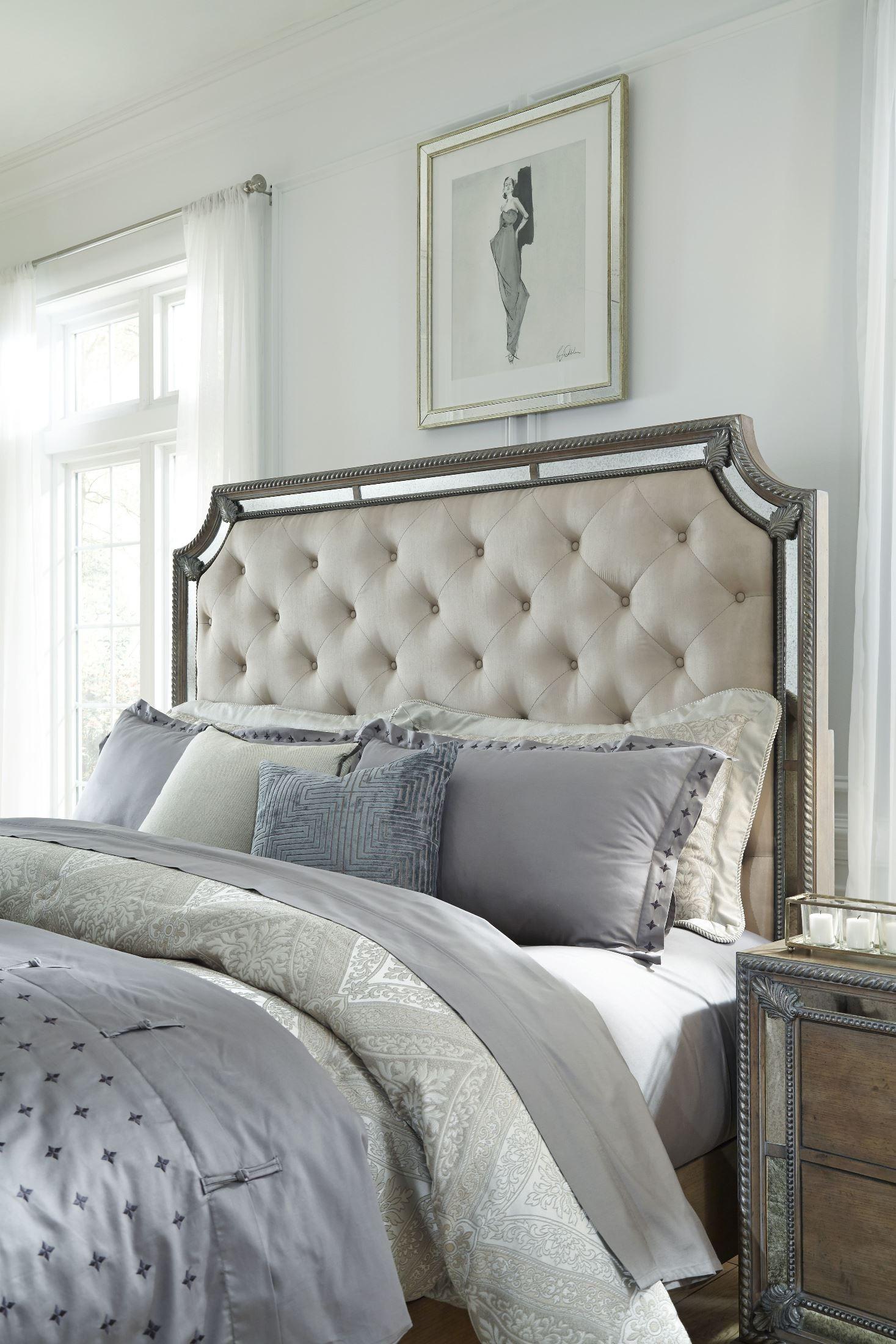 Karissa light wood upholstered panel bedroom set from - King size bedroom sets for sale by owner ...