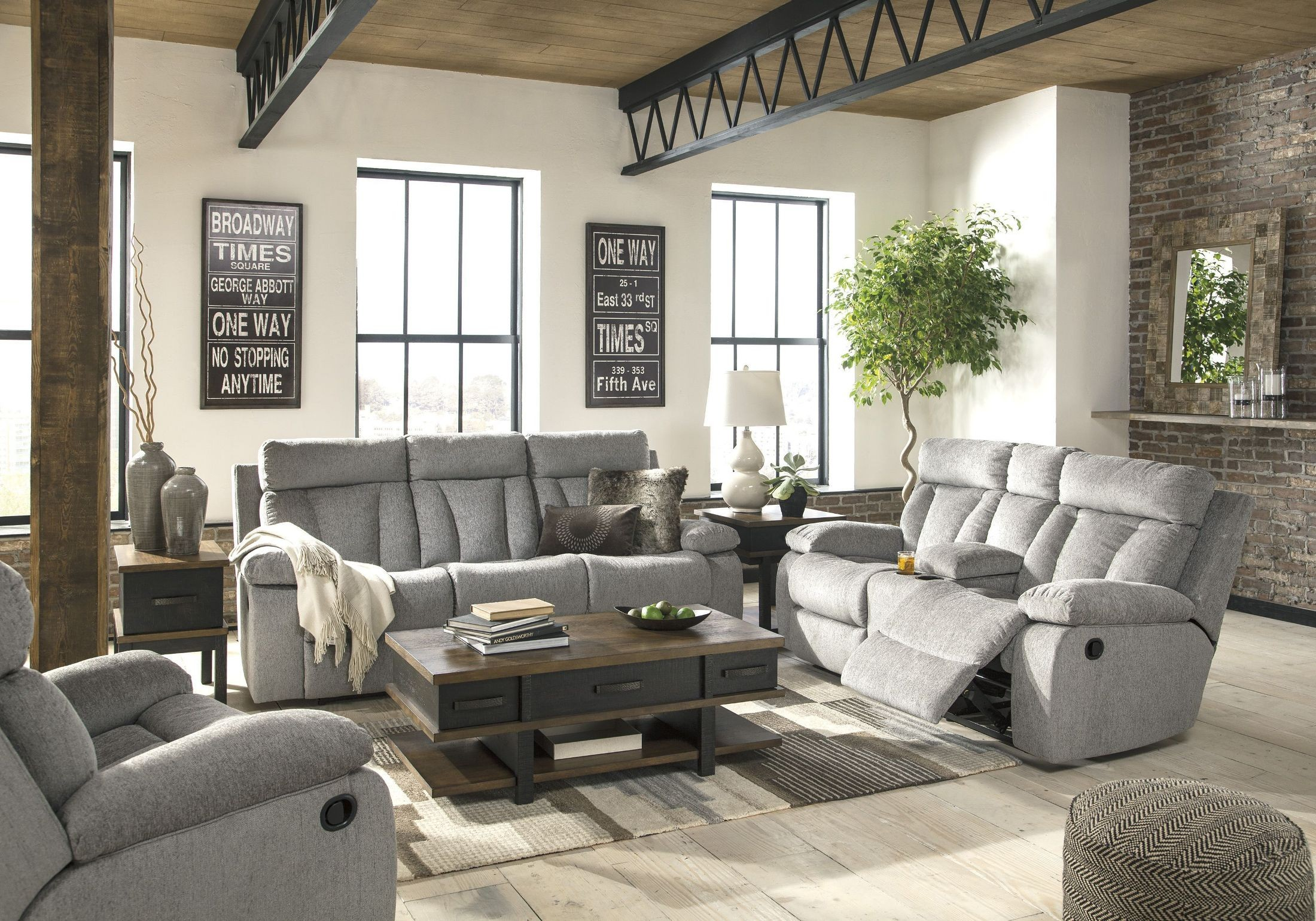 Mitchiner Fog Reclining Living Room Set From Ashley