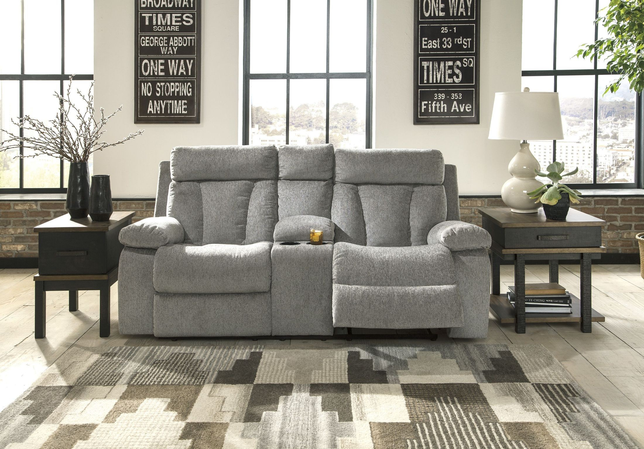 Mitchiner Fog Double Reclining Loveseat From Ashley
