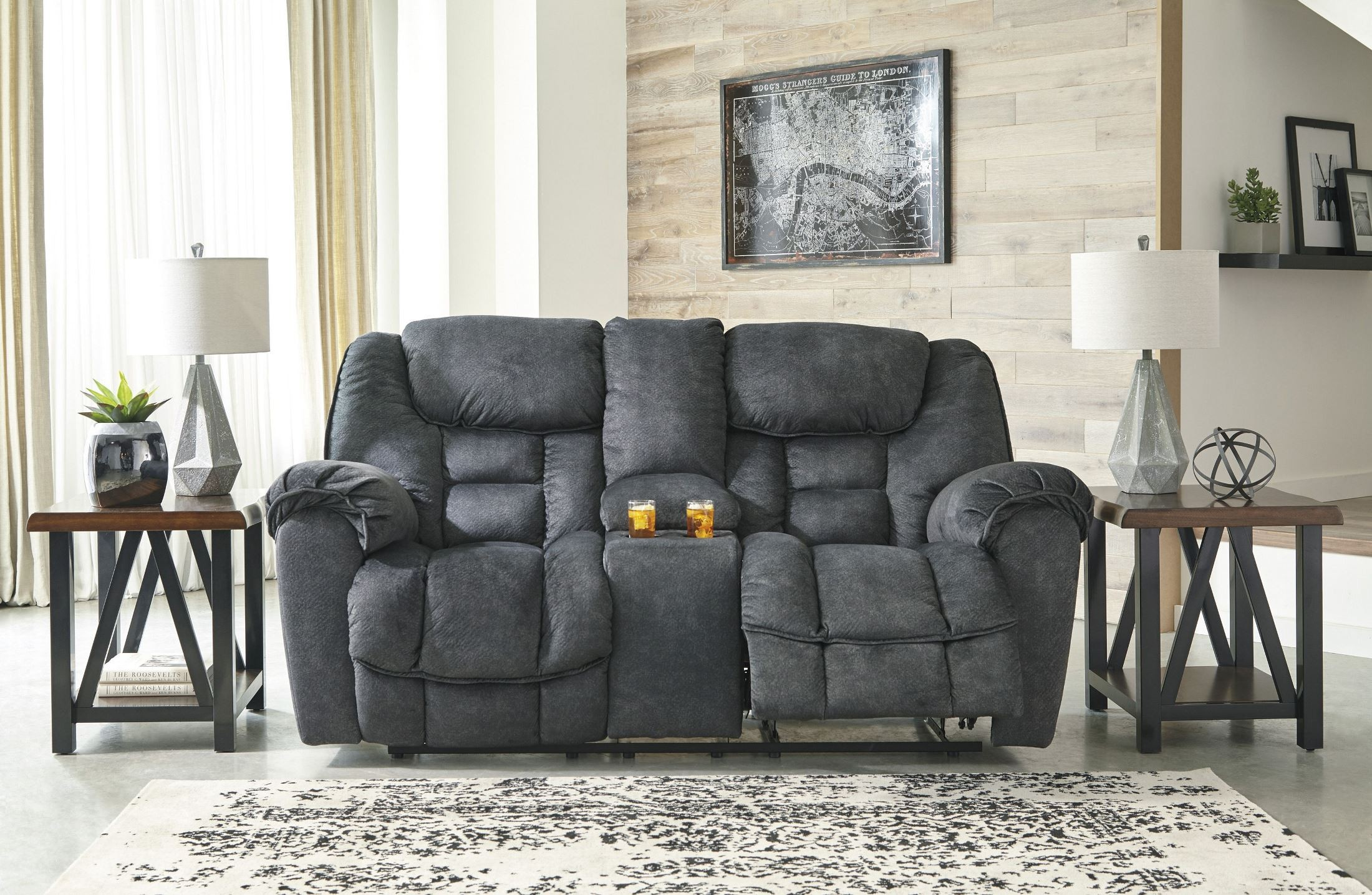 weekends console polyester power loveseat only furniture colt brown reclining