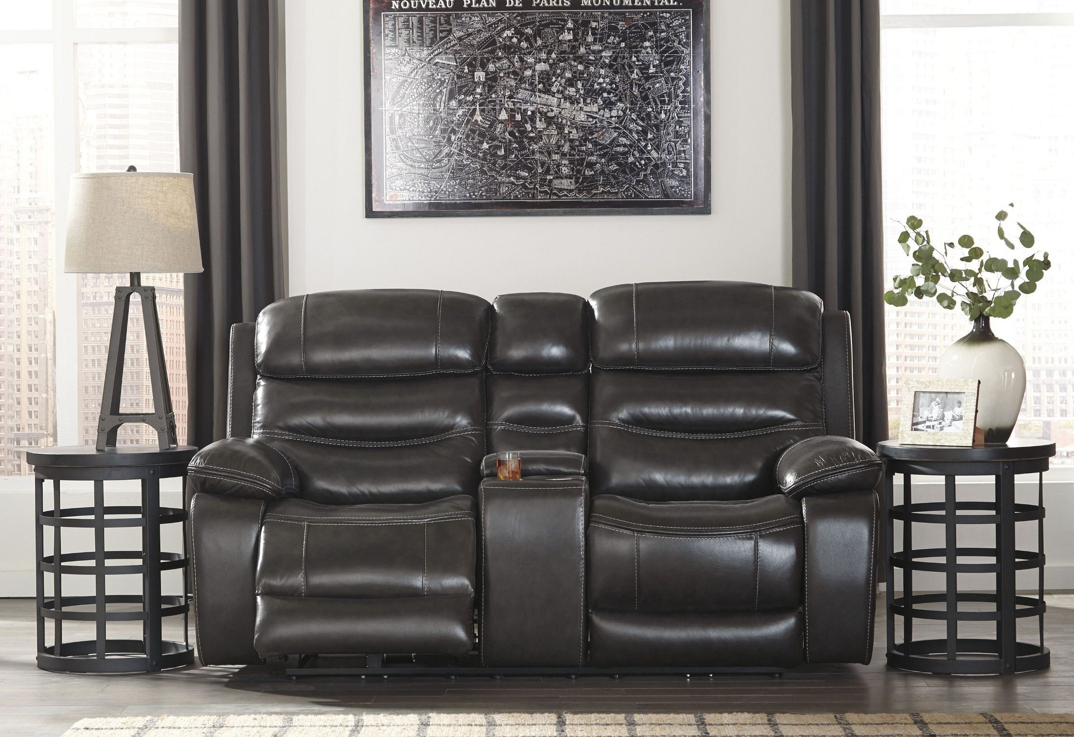 black con reclining luv kingvale power gray product loveseats loveseat lr console