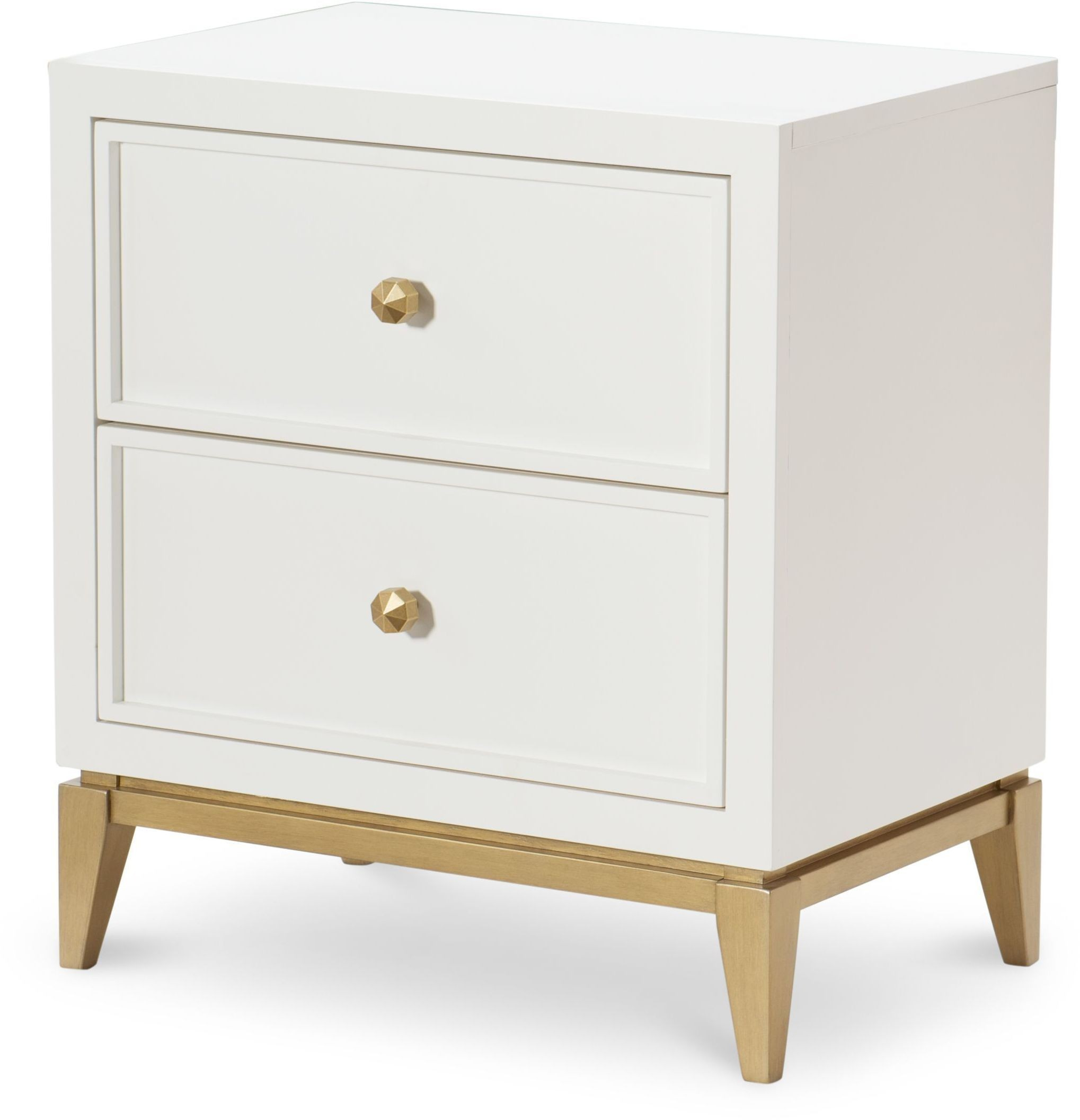 uptown white and gold 2 drawer night stand from racheal