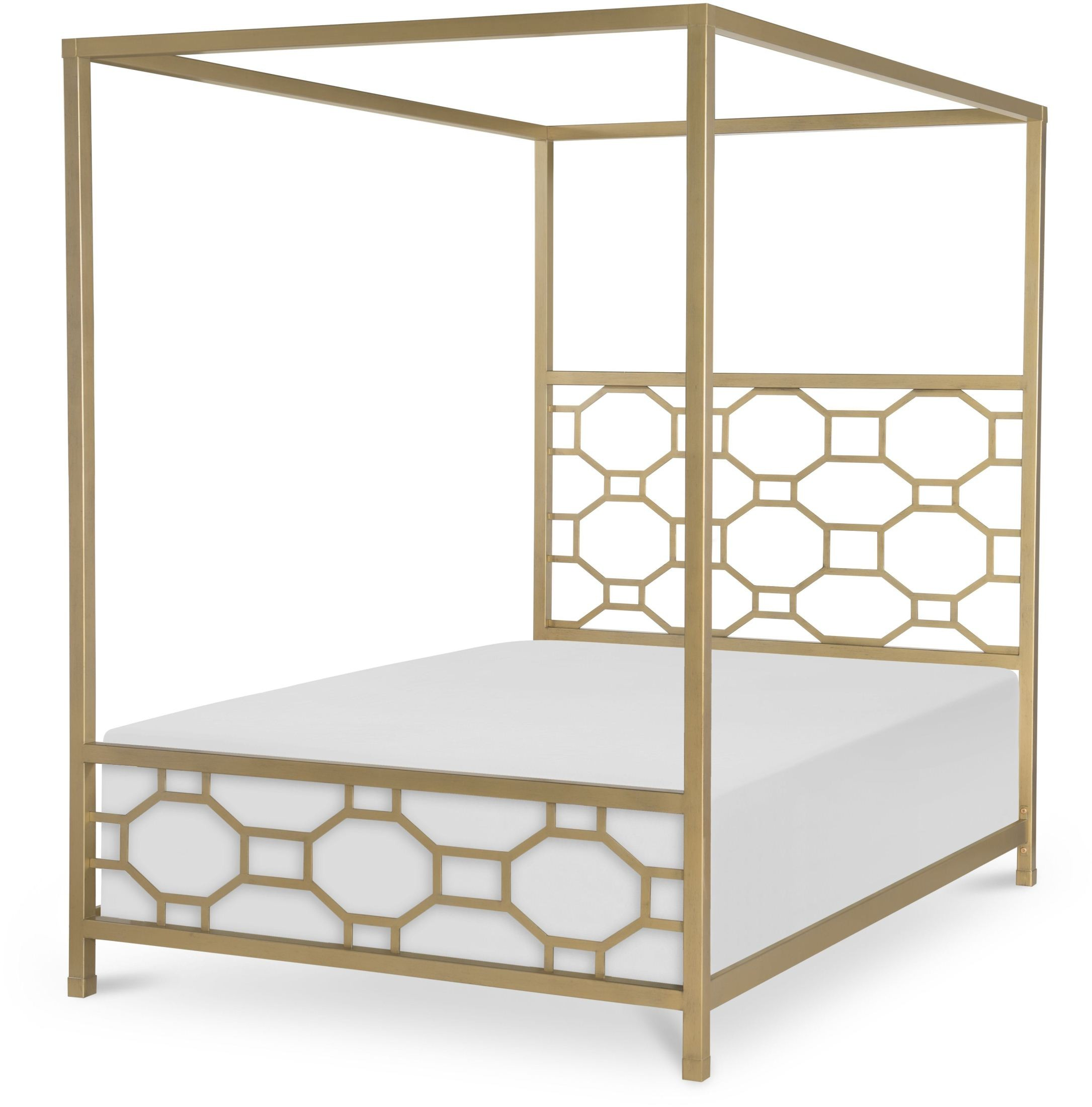 Uptown white and gold full metal canopy bed from racheal for Gold bed canopy