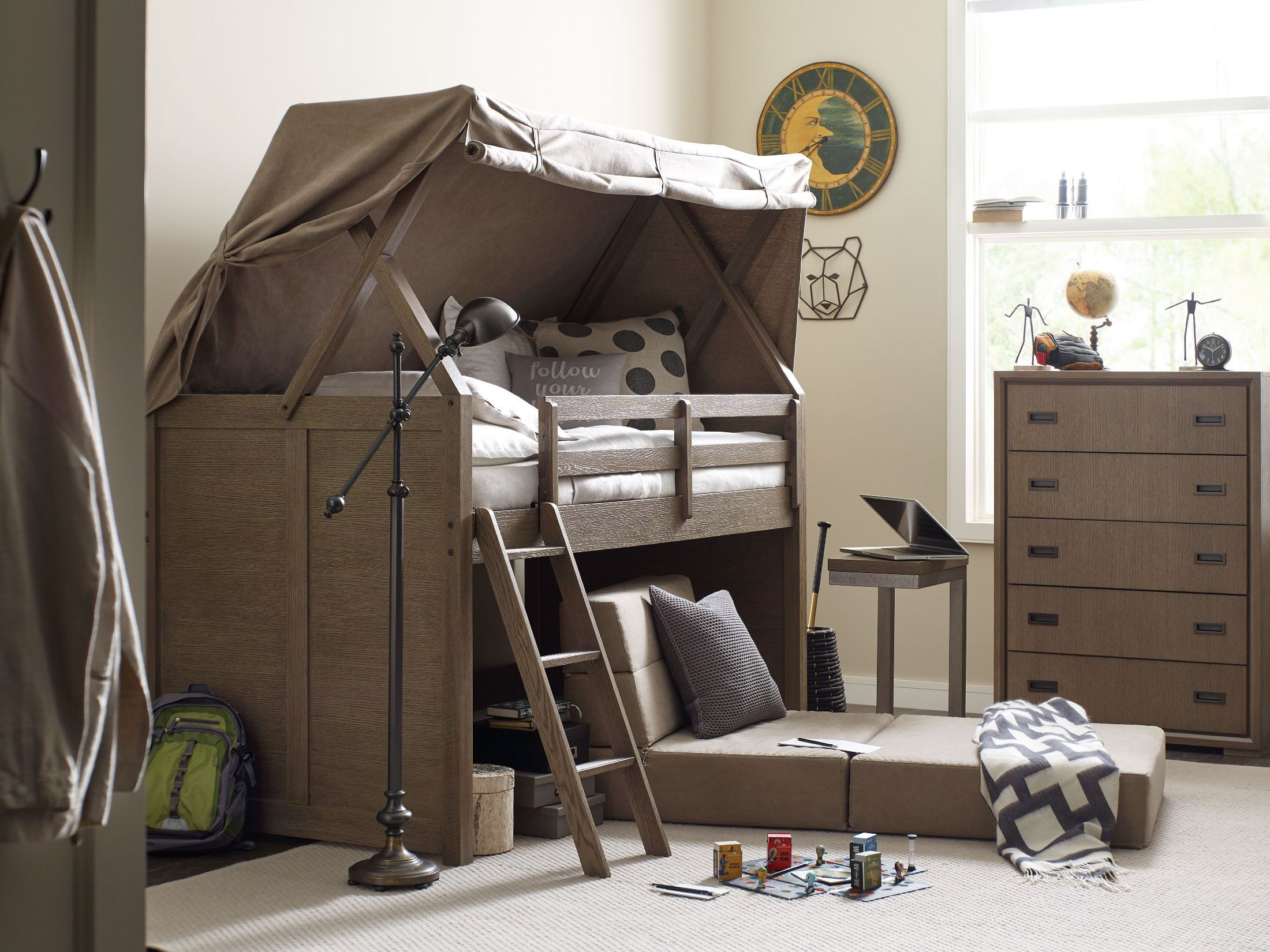 Midtown Greige Youth Mid Loft Storage Bedroom Set from