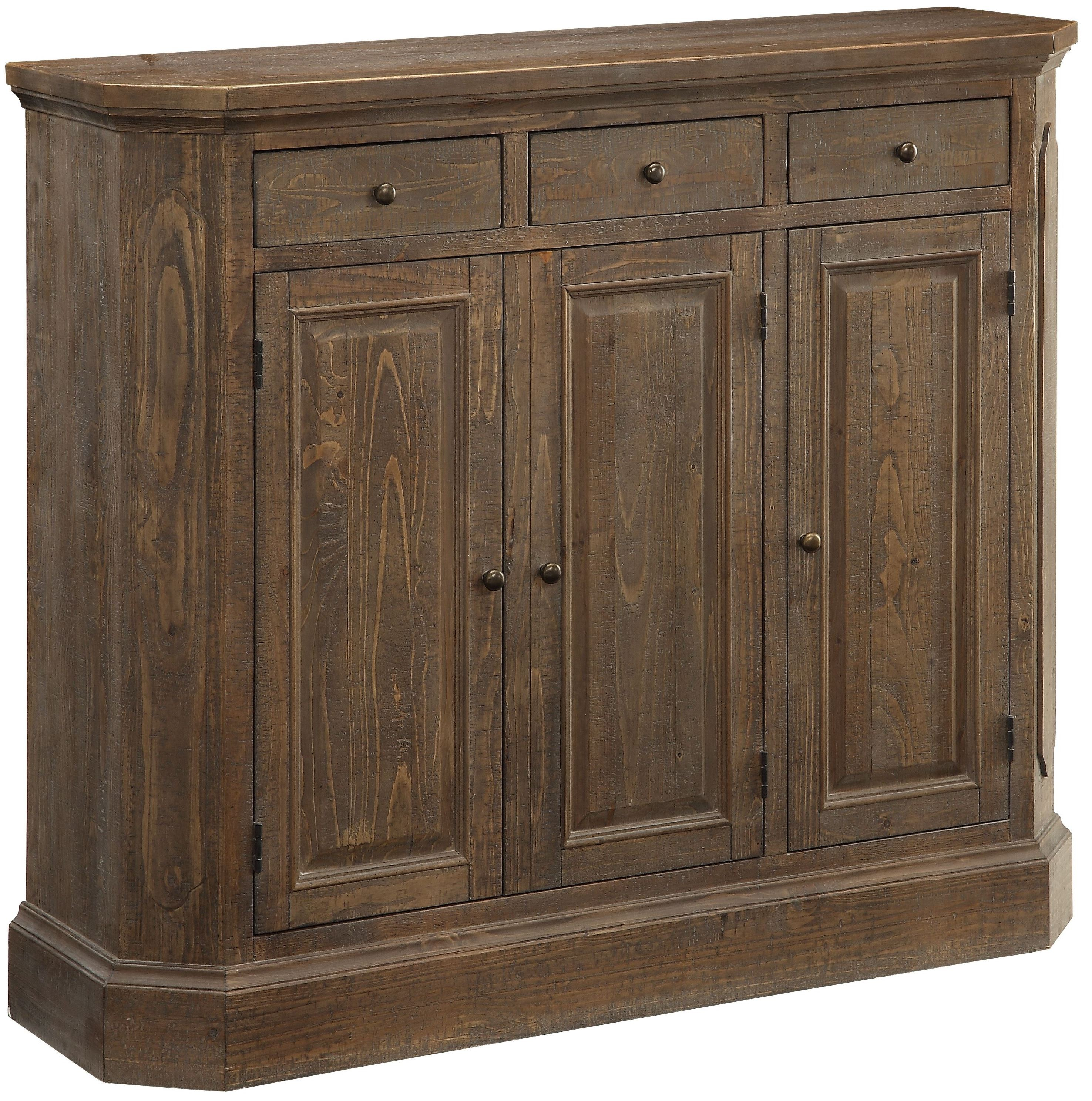 Distress Cabinets: Cayhill Distressed Brown 3 Door Media Cabinet From Coast