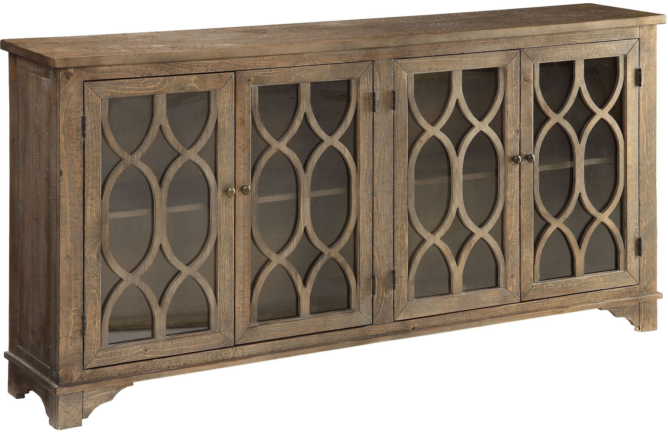 Cayhill Distressed Brown 4 Door Media Credenza from Coast to Coast