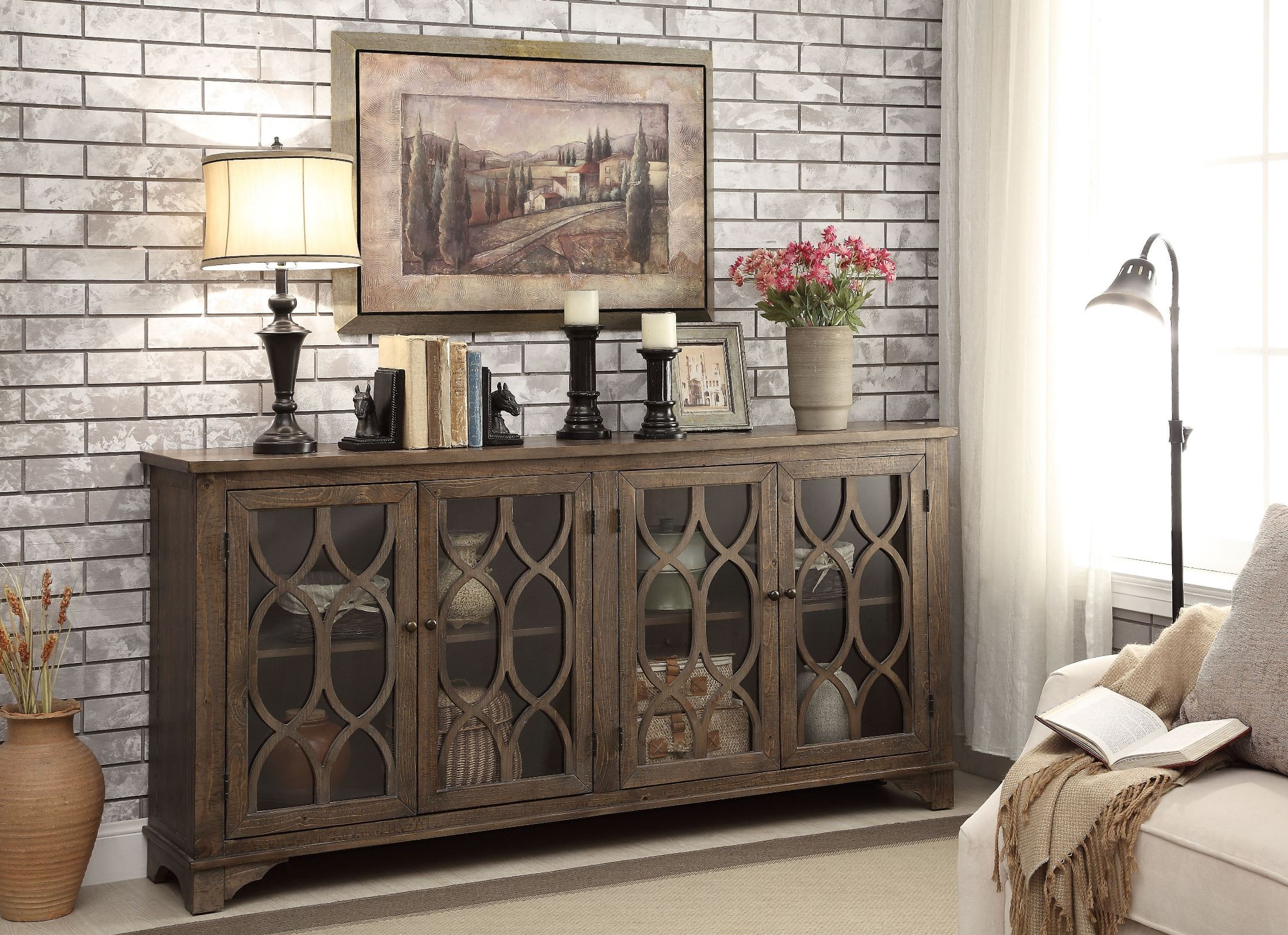 Cayhill Distressed Brown 4 Door Media Credenza From Coast