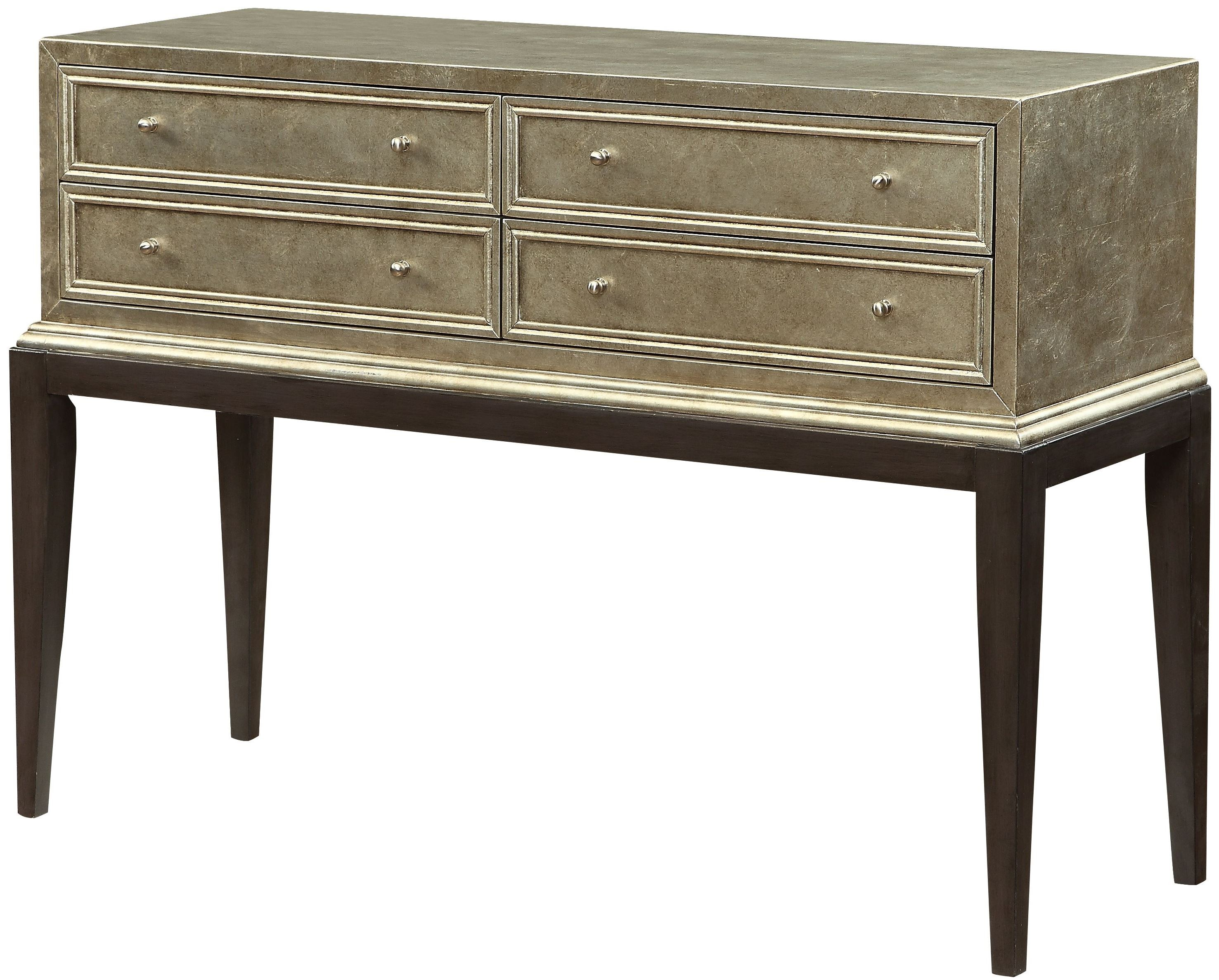 Silver Leaf 4 Drawer Console From Coast To Coast 78697 Coleman Furniture