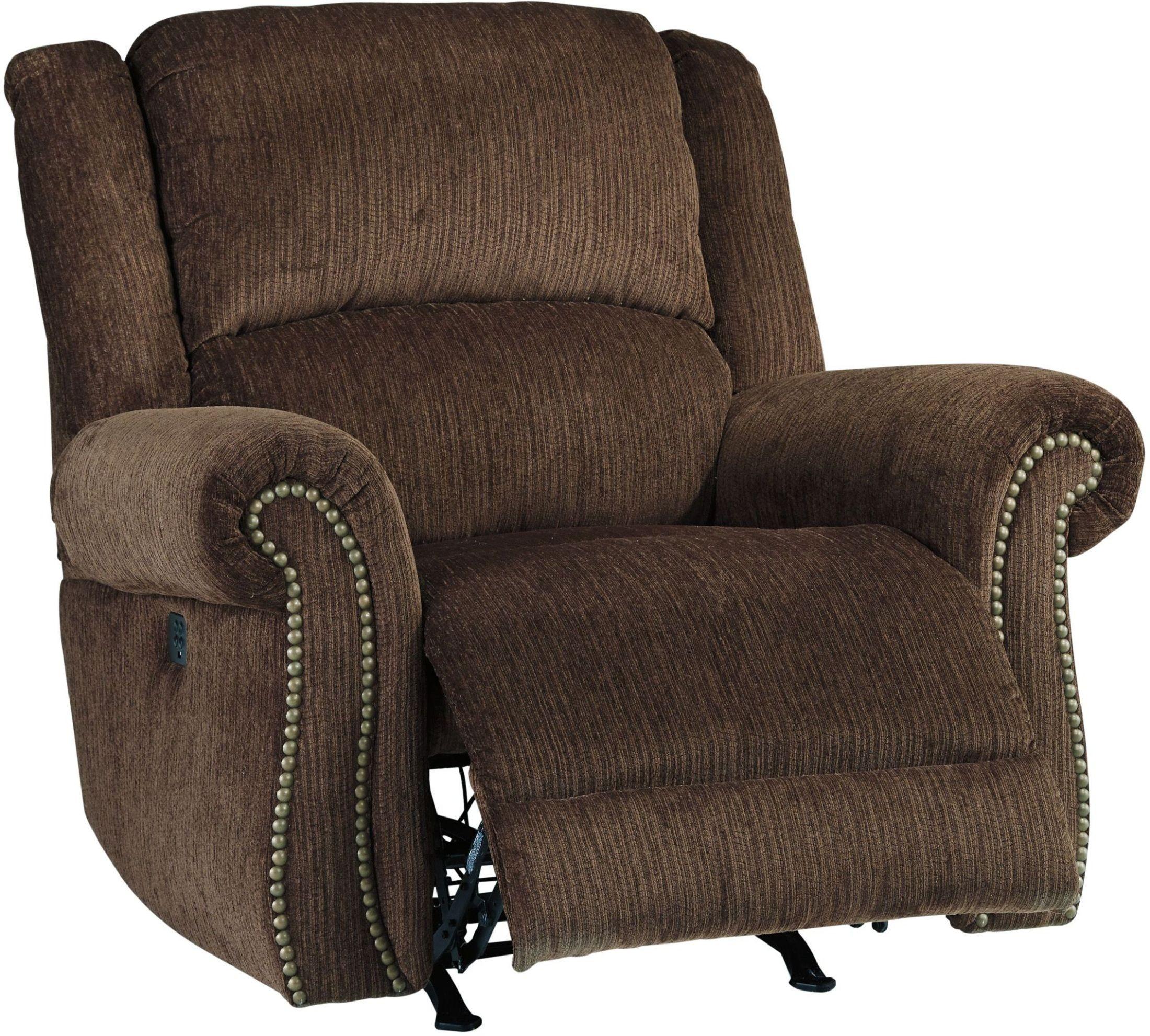 Goodlow Chocolate Power Recliner With Adjustable Headrest