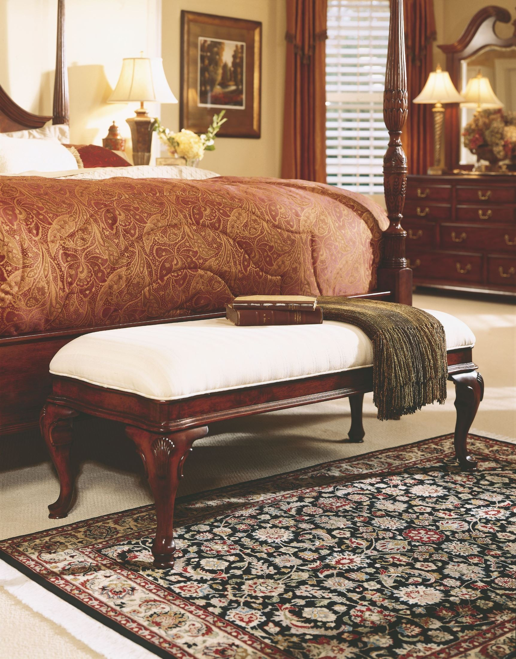 Cherry Grove Classic Antique Cherry Bed Bench From