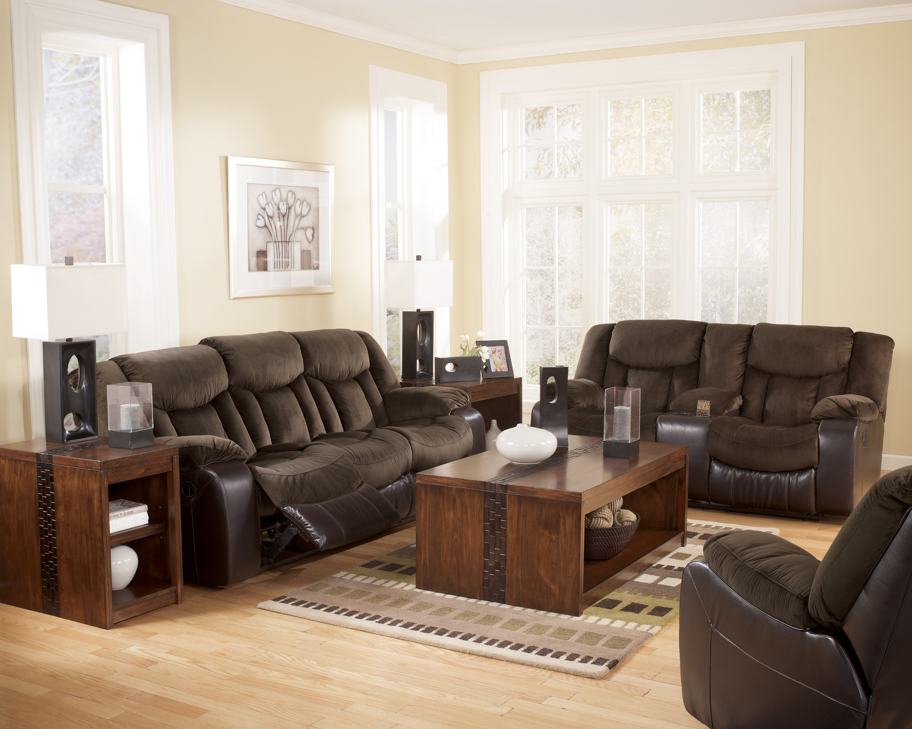 Tafton Java Double Reclining Loveseat With Console From Ashley 7920294 Coleman Furniture