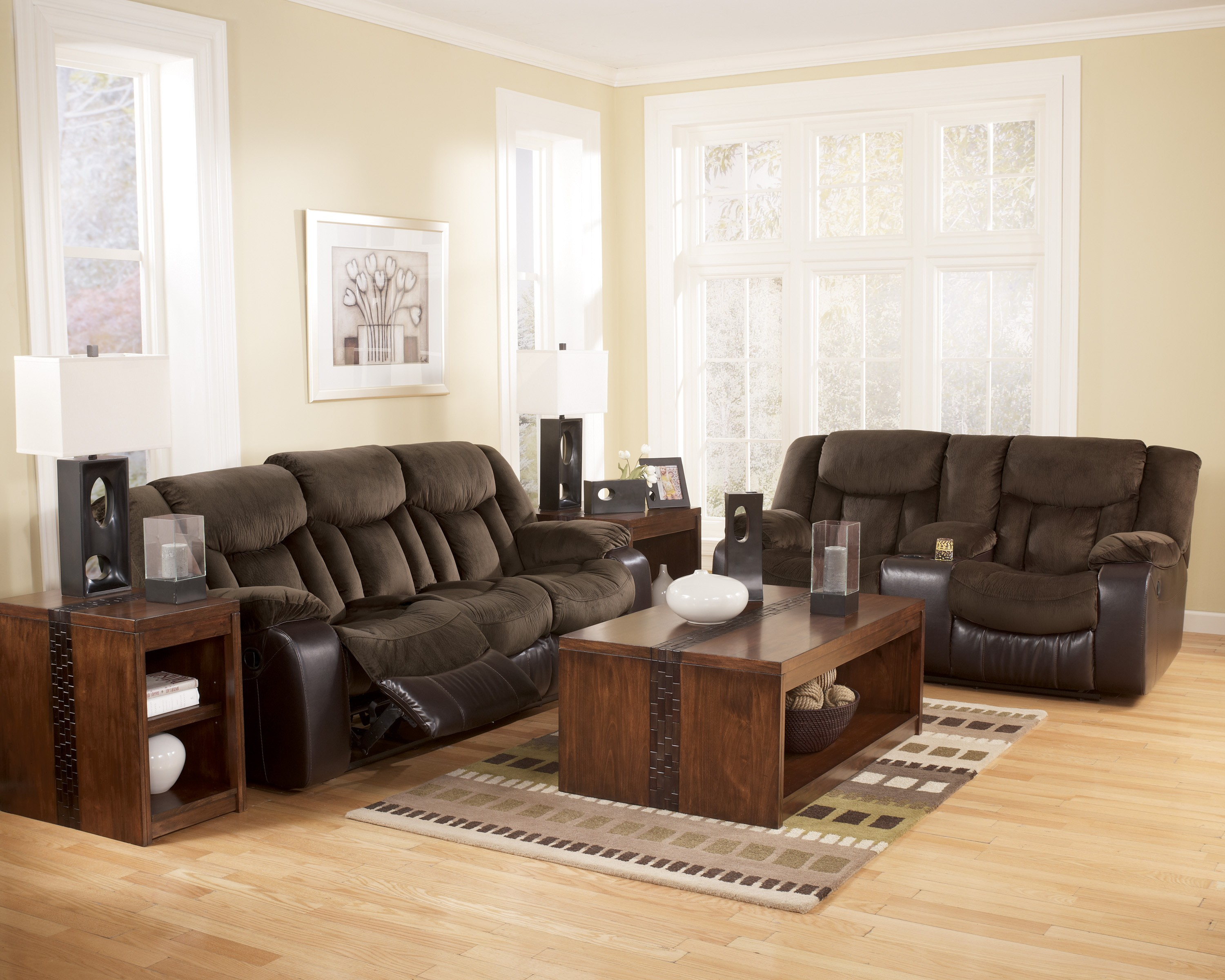 Tafton Java Double Reclining Loveseat With Console From