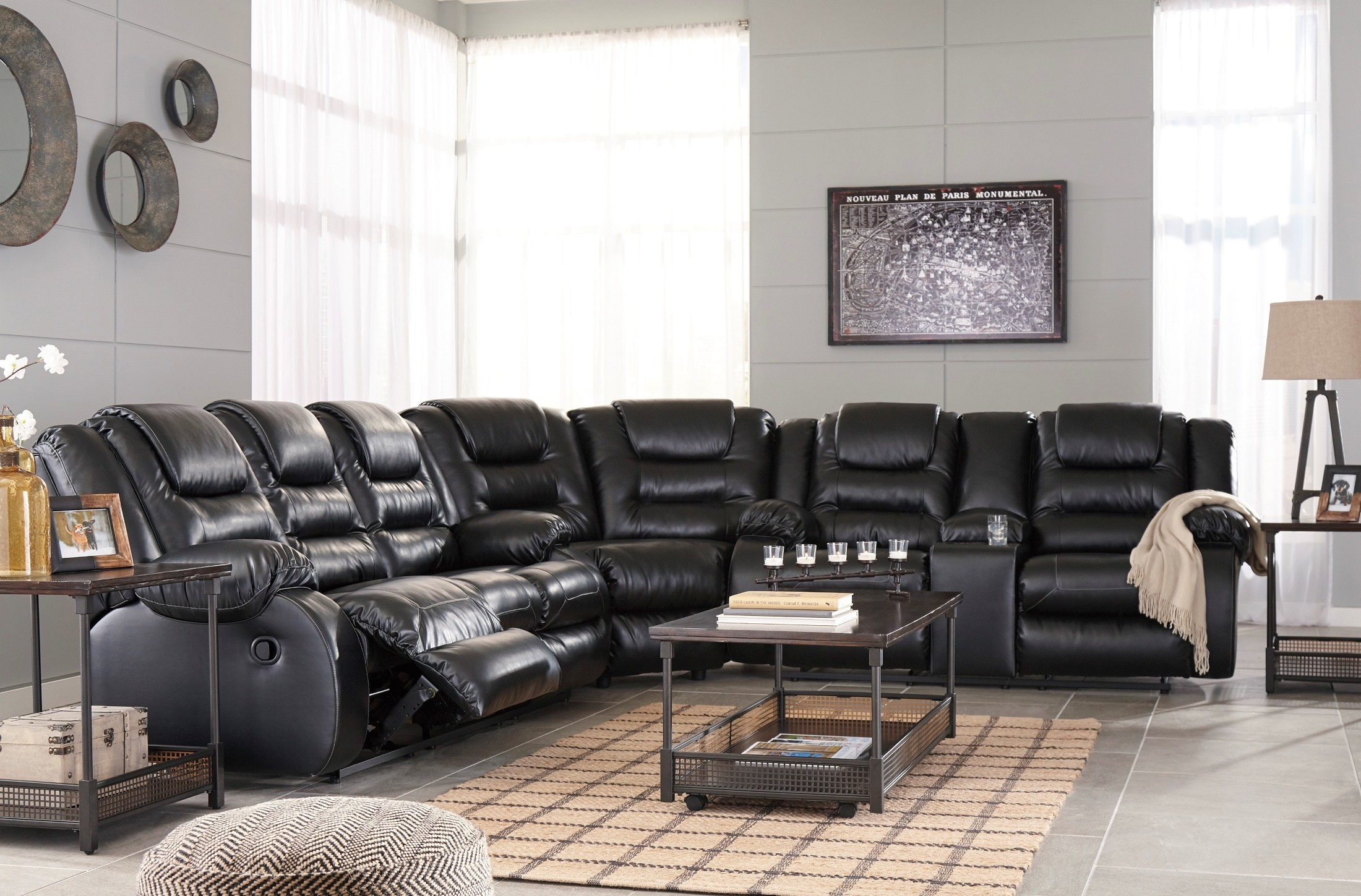Vacherie Black Double Reclining Sectional From Ashley