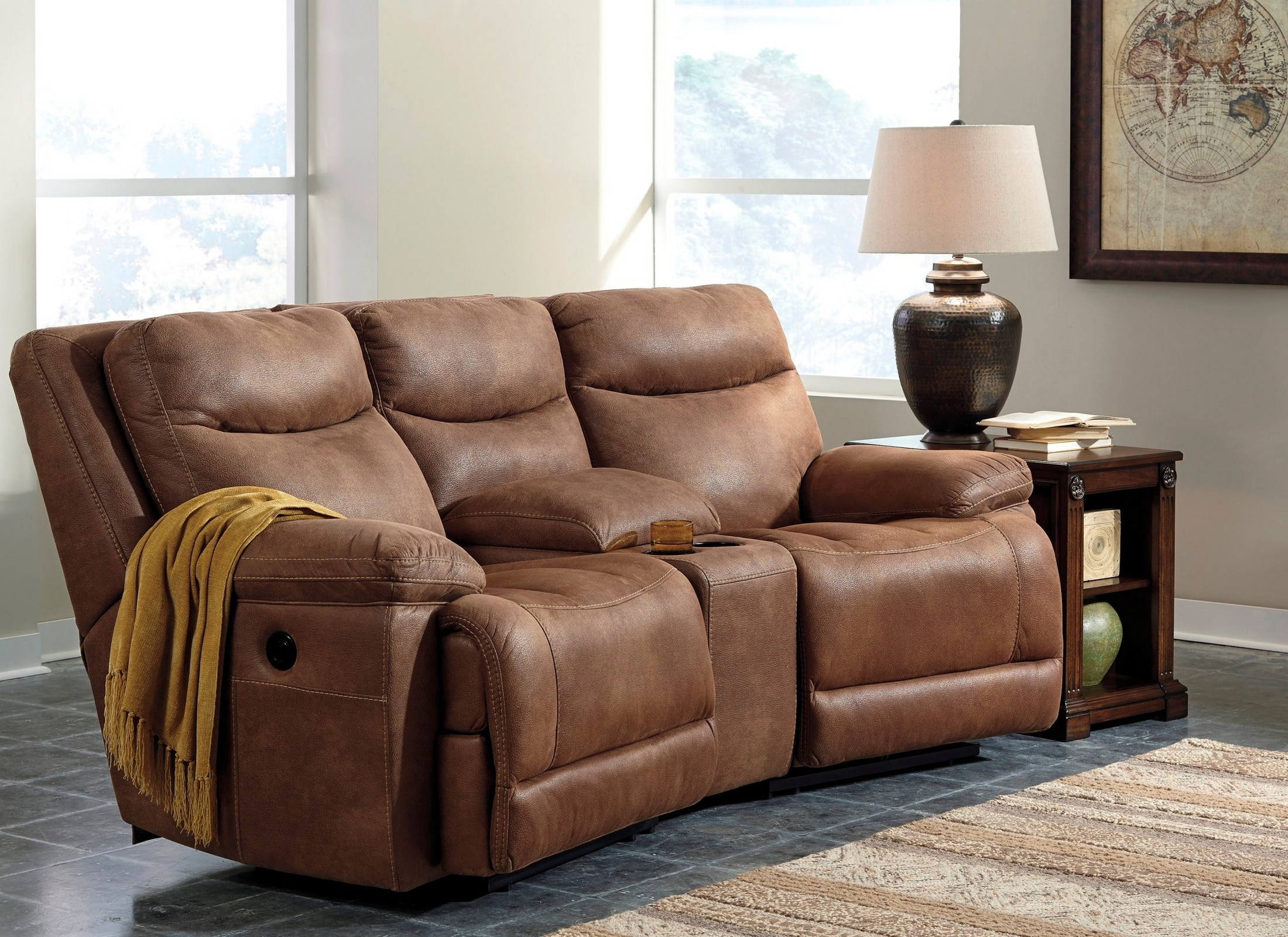 Valto saddle small reclining entertainment sectional for Affordable furniture 3 piece sectional in wyoming saddle