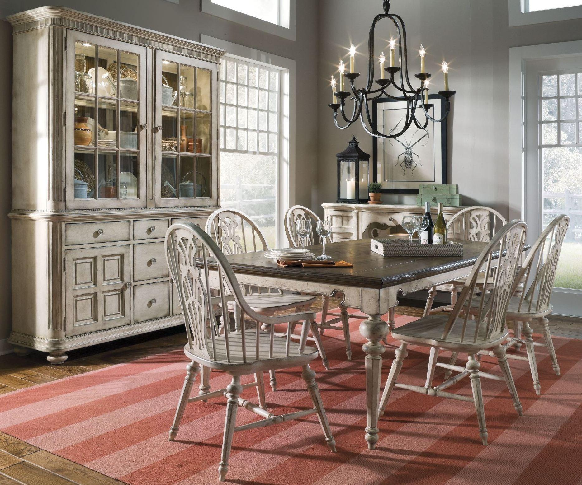 Vintage Dining Room Set: Belmar Antique Linen Rectangular Extendable Dining Room