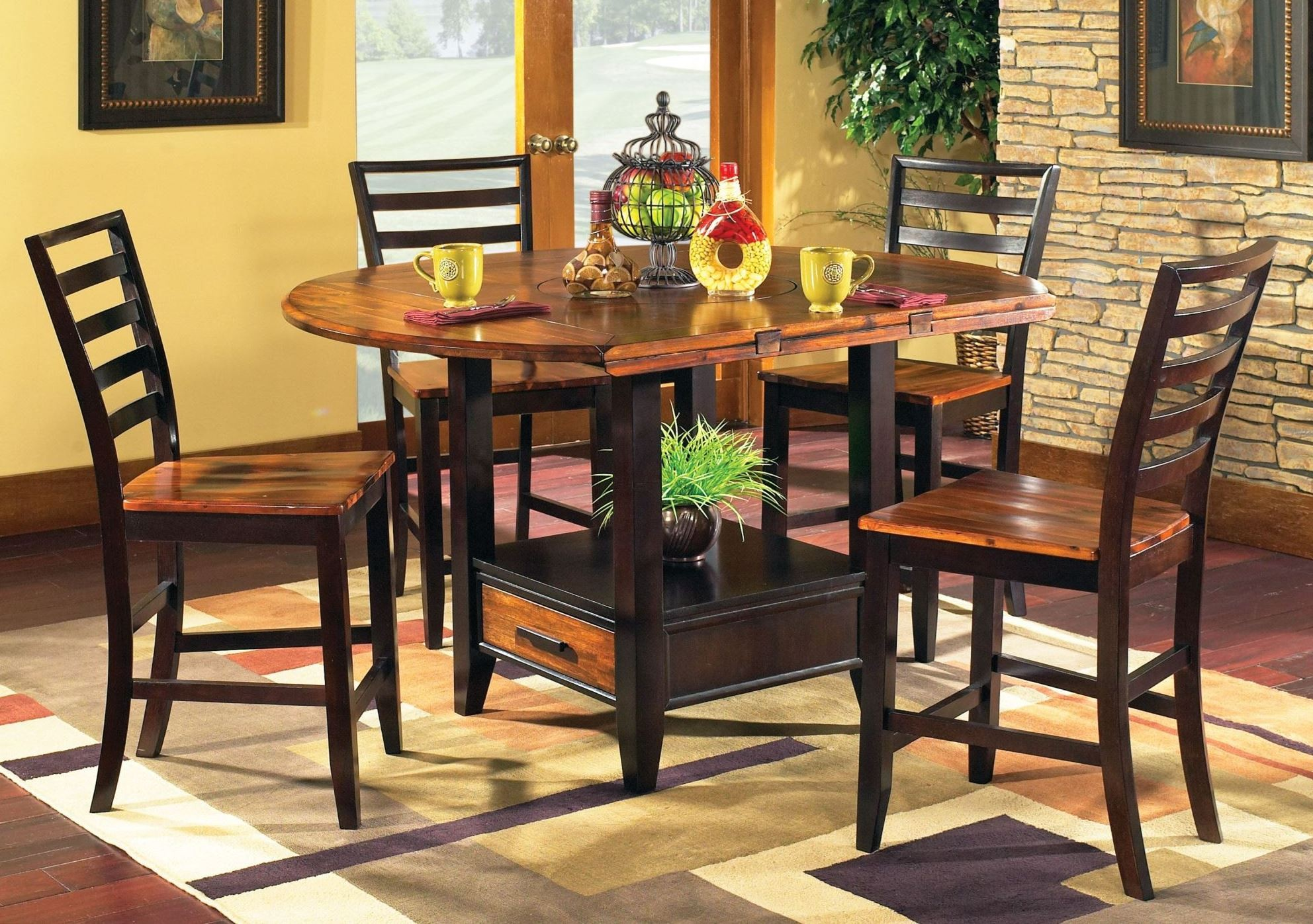 Abaco Extendable Round Counter Height Dining Room Set From
